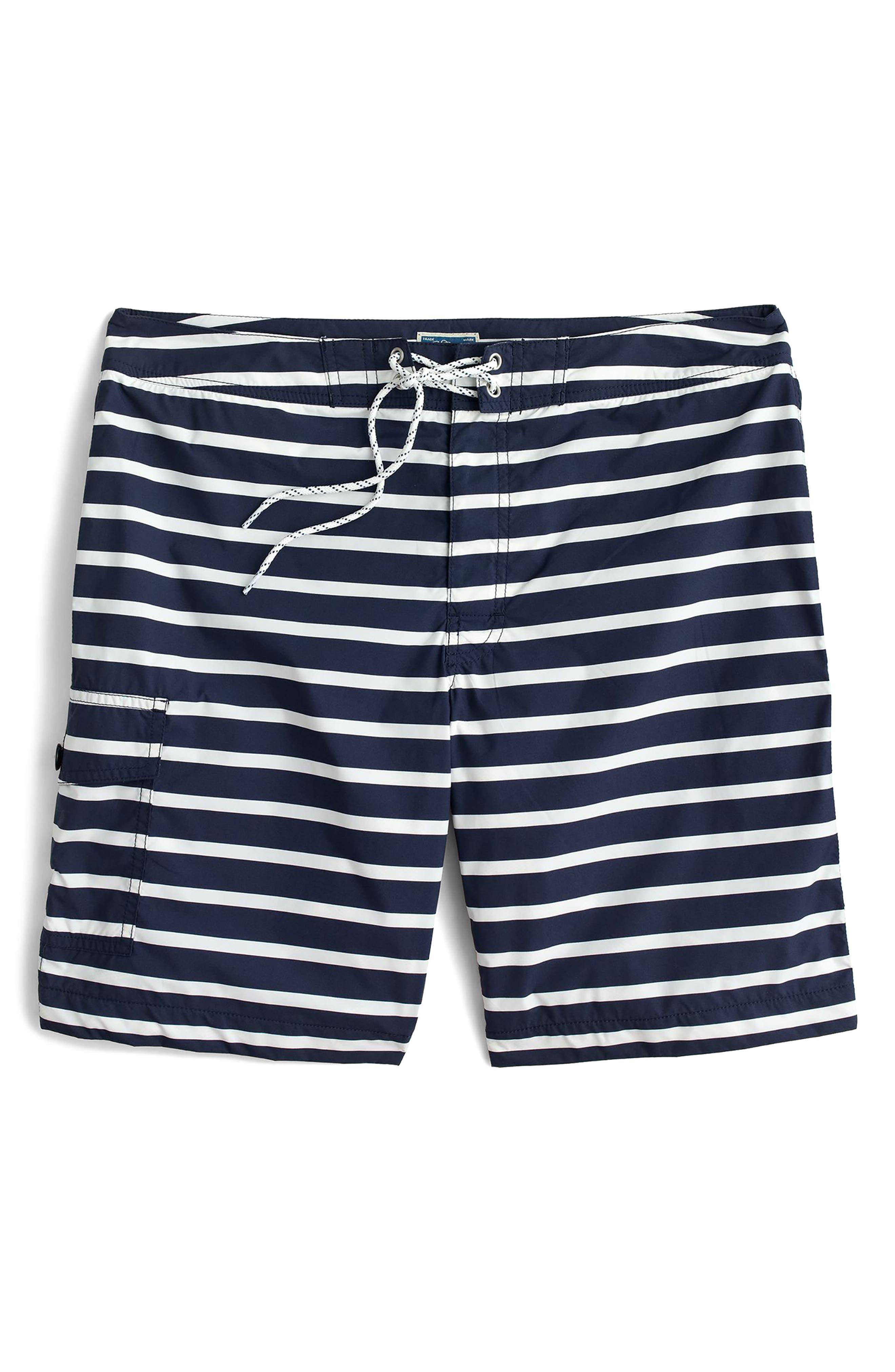 J.Crew Stripe Swim Trunks,                             Alternate thumbnail 4, color,                             Navy White