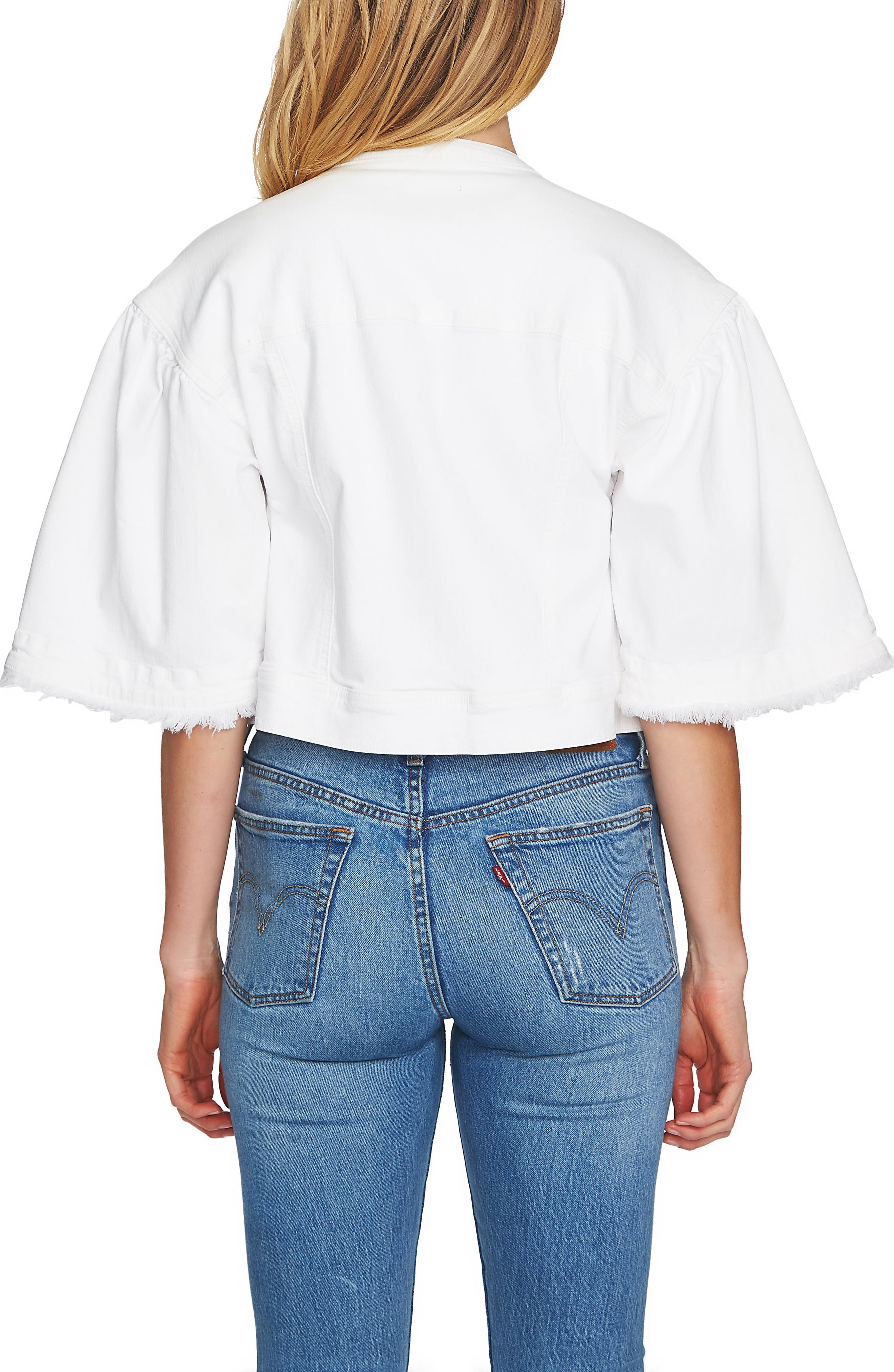 Collarless Wide Sleeve Denim Jacket,                             Alternate thumbnail 2, color,                             Ultra Whit