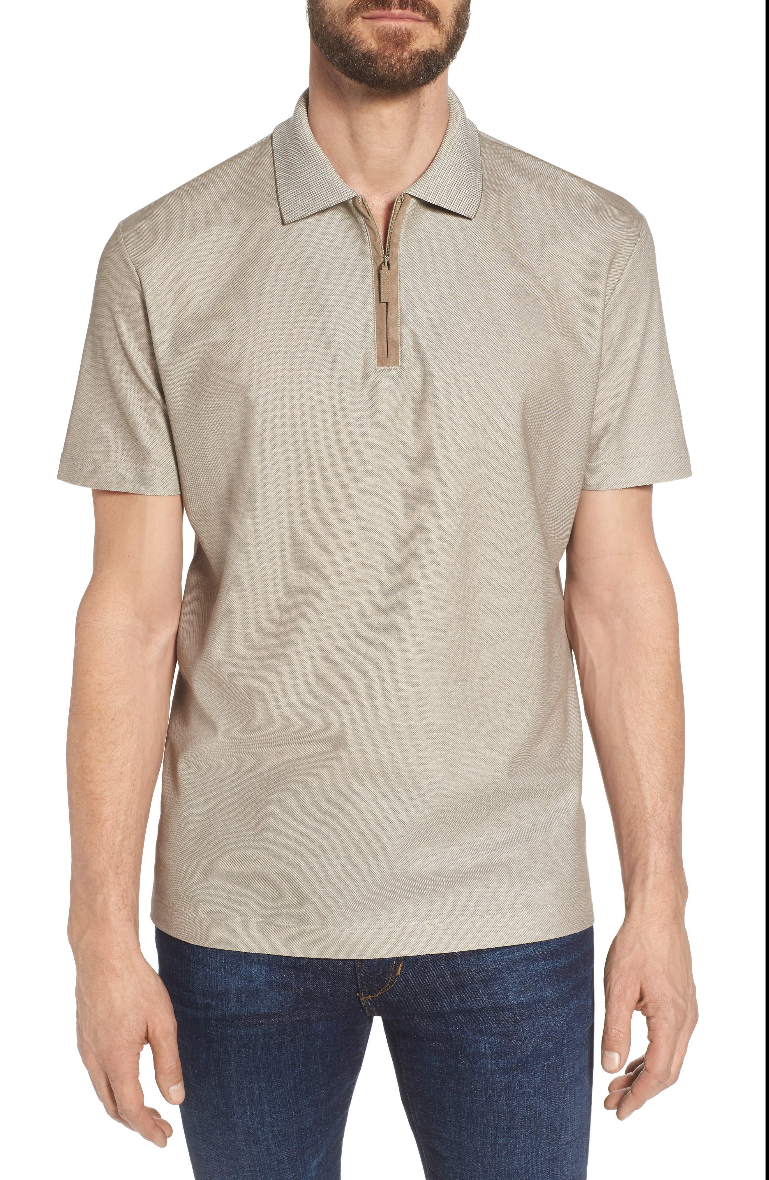 Cotton Polo Shirt,                         Main,                         color, Tan