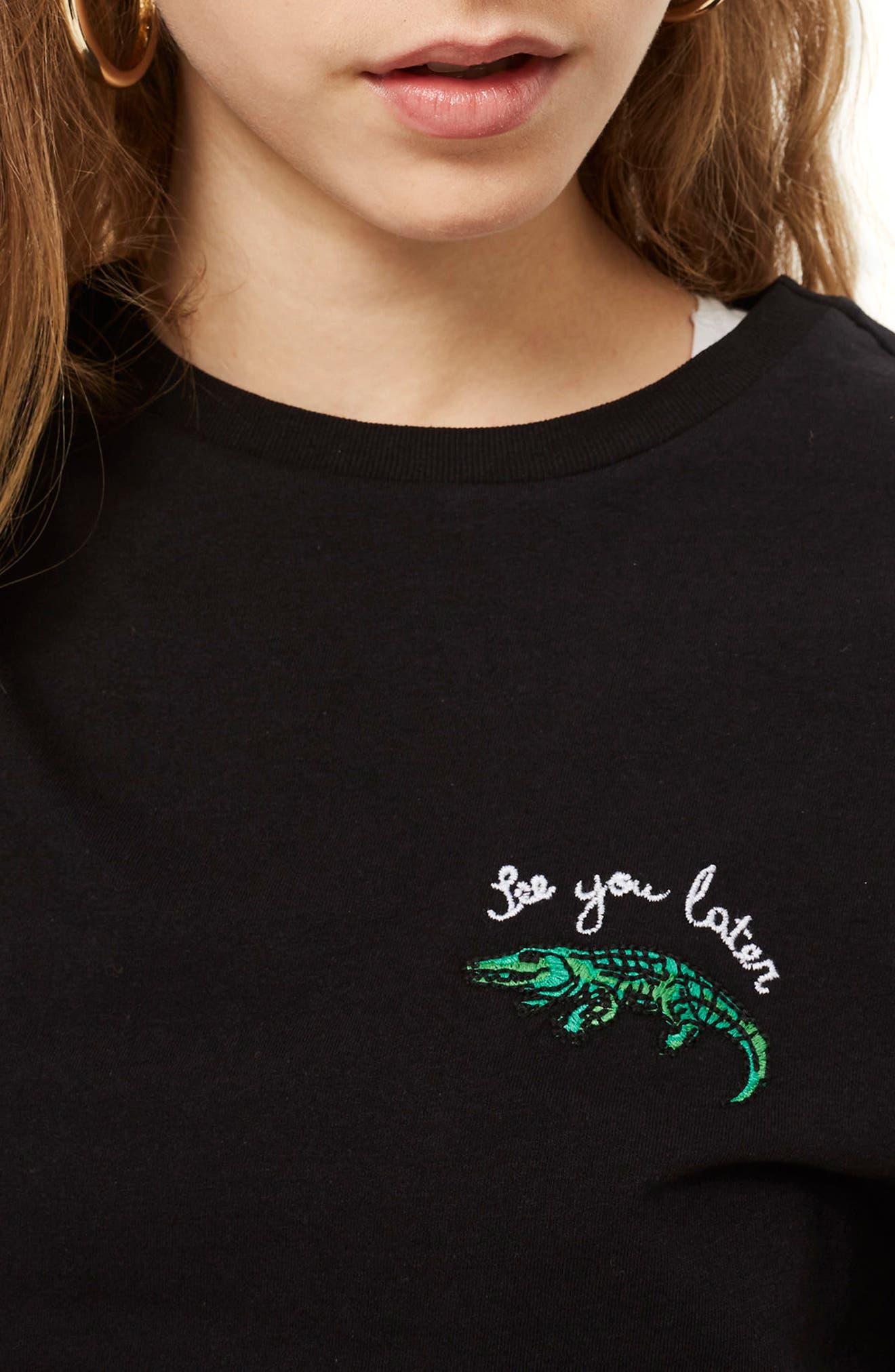 Alligator T-Shirt,                             Alternate thumbnail 3, color,                             Black Multi
