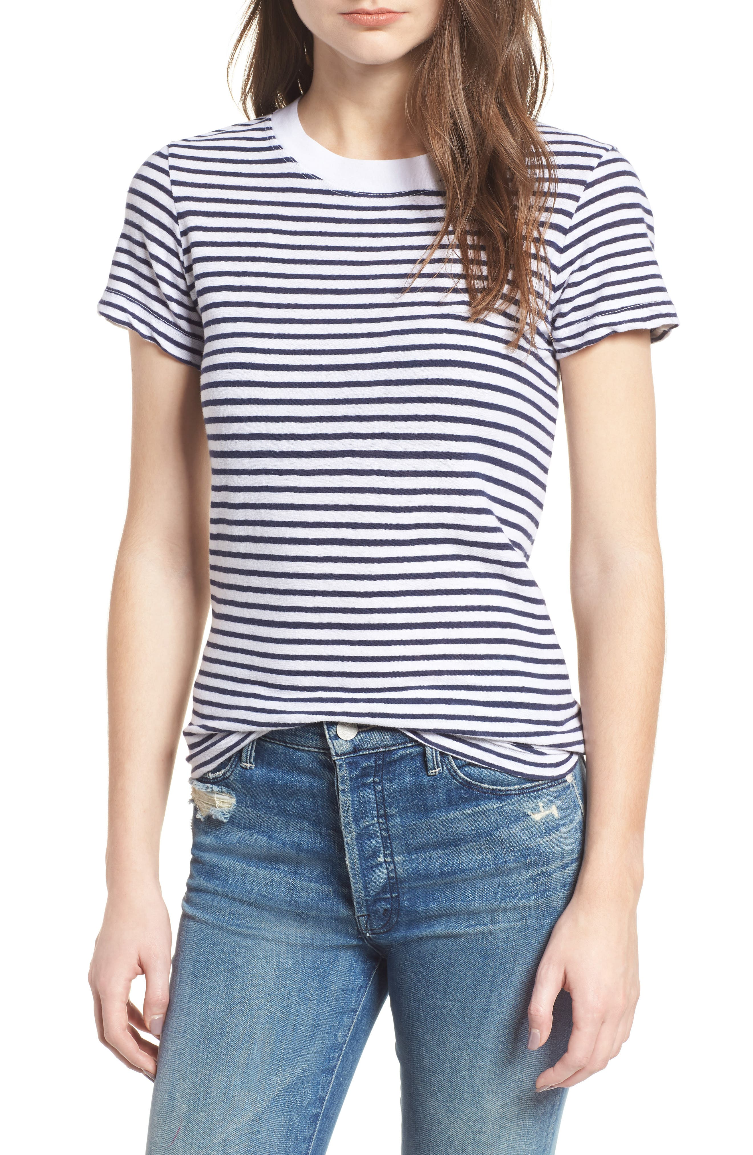 Stripe Linen Blend Boy Tee,                             Main thumbnail 1, color,                             Navy/ White