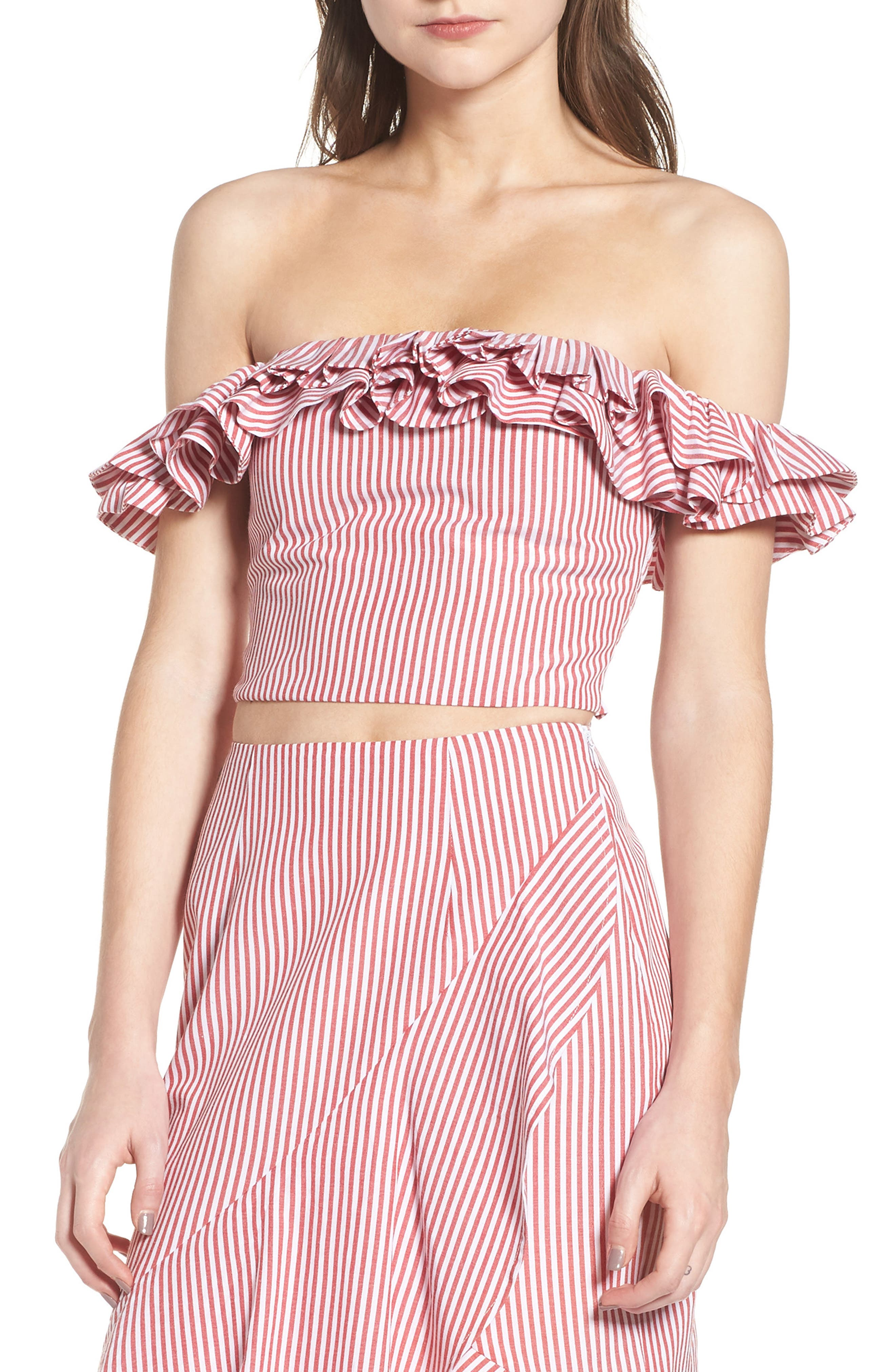 Anzio Off the Shoulder Ruffle Crop Top,                             Main thumbnail 1, color,                             Red Stripe