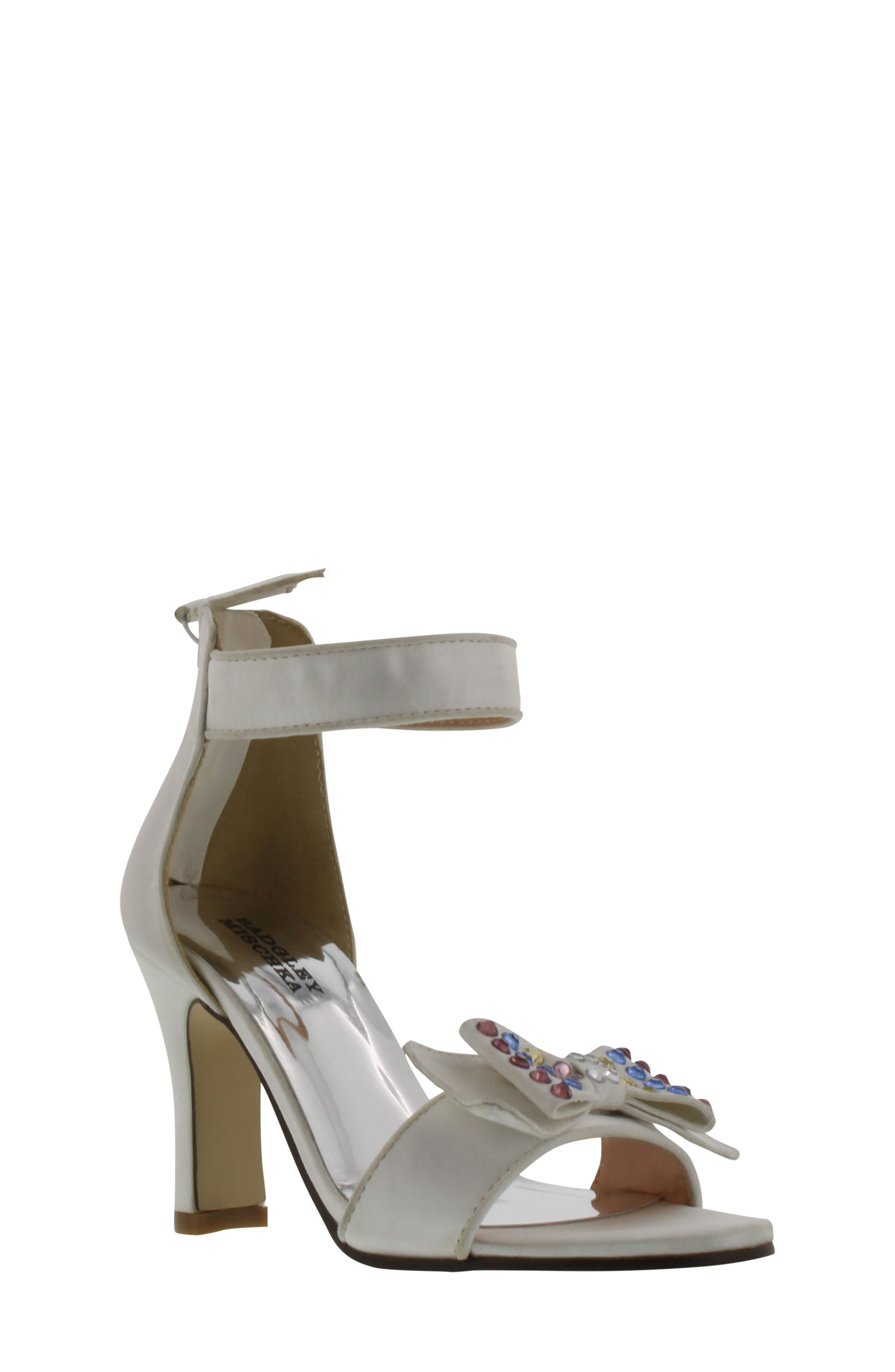 Kendall Embellished Bow Sandal,                         Main,                         color, White Multi