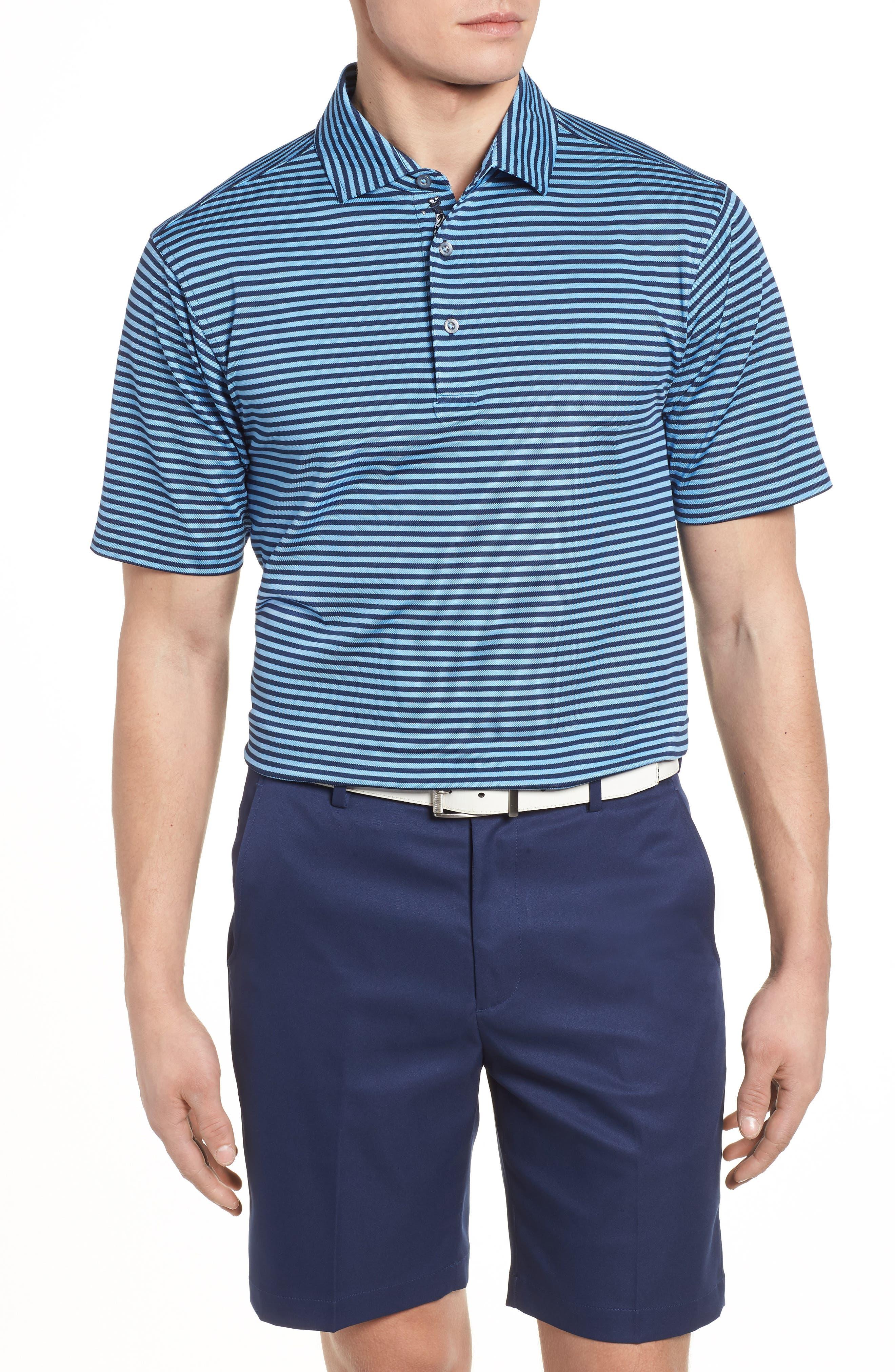 XH2O Feed Stripe Stretch Golf Polo,                         Main,                         color, Sky Blue