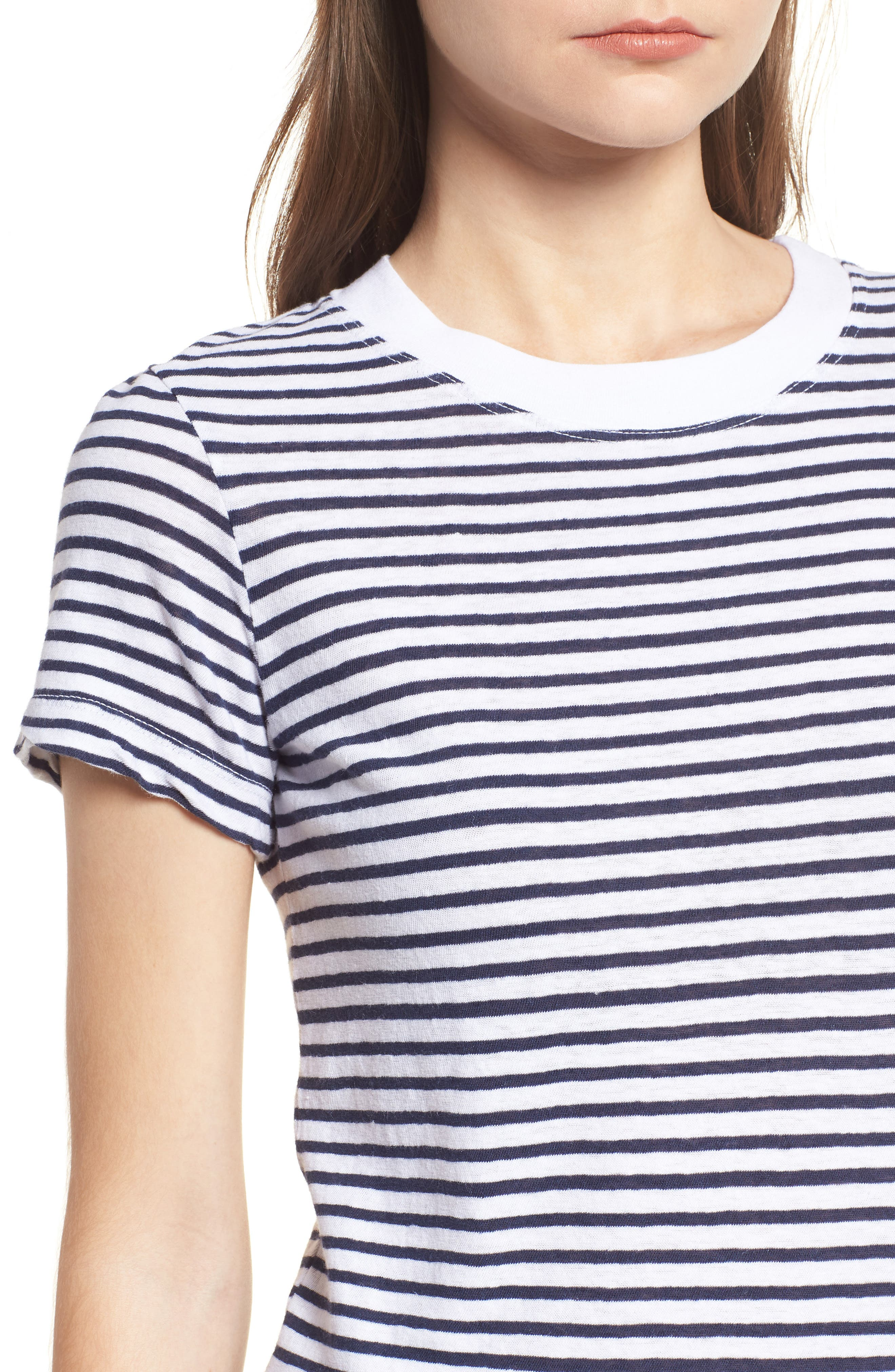 Stripe Linen Blend Boy Tee,                             Alternate thumbnail 4, color,                             Navy/ White