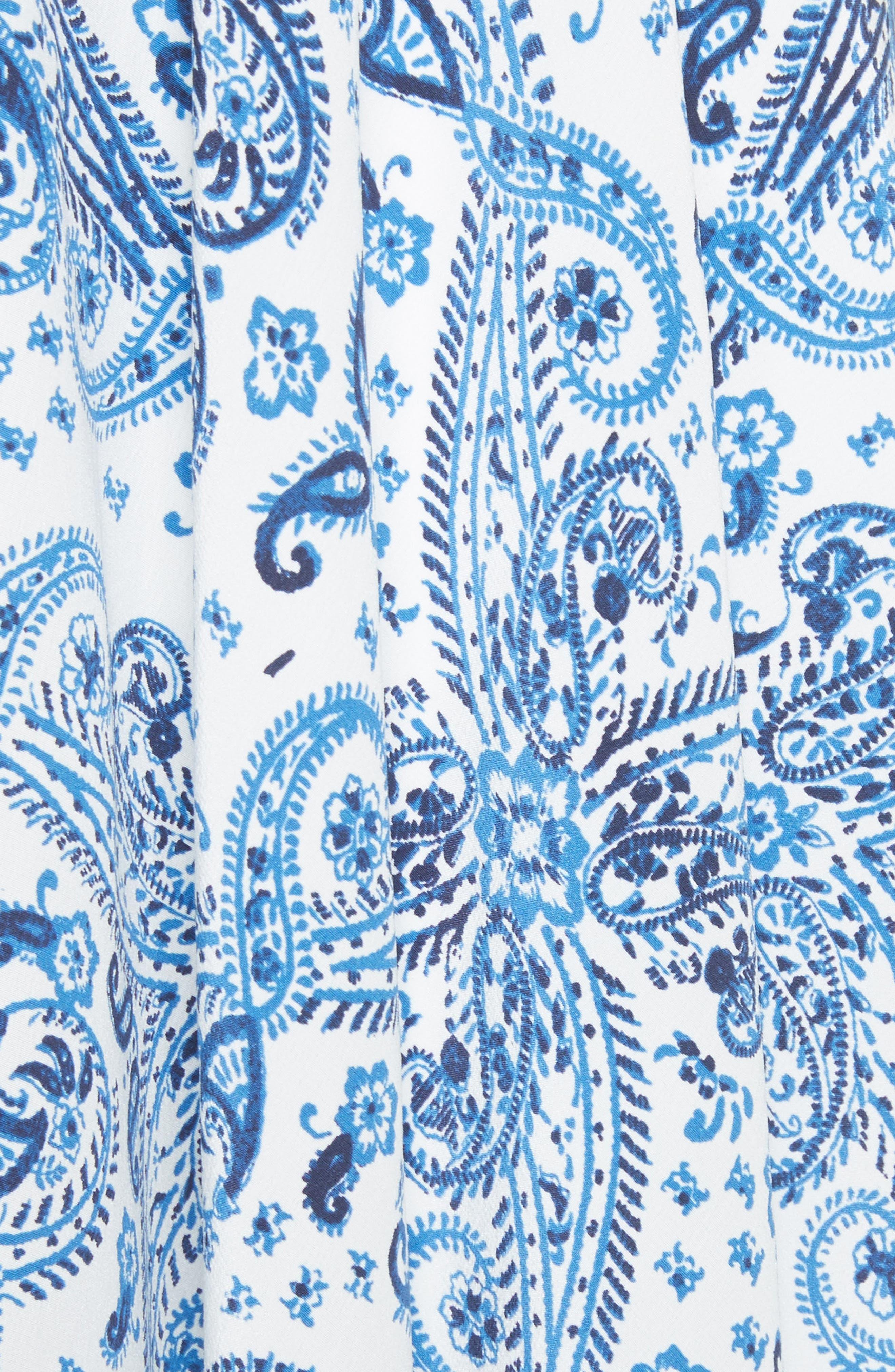 Cyntia Paisley Silk Dress,                             Alternate thumbnail 5, color,                             Porcelain