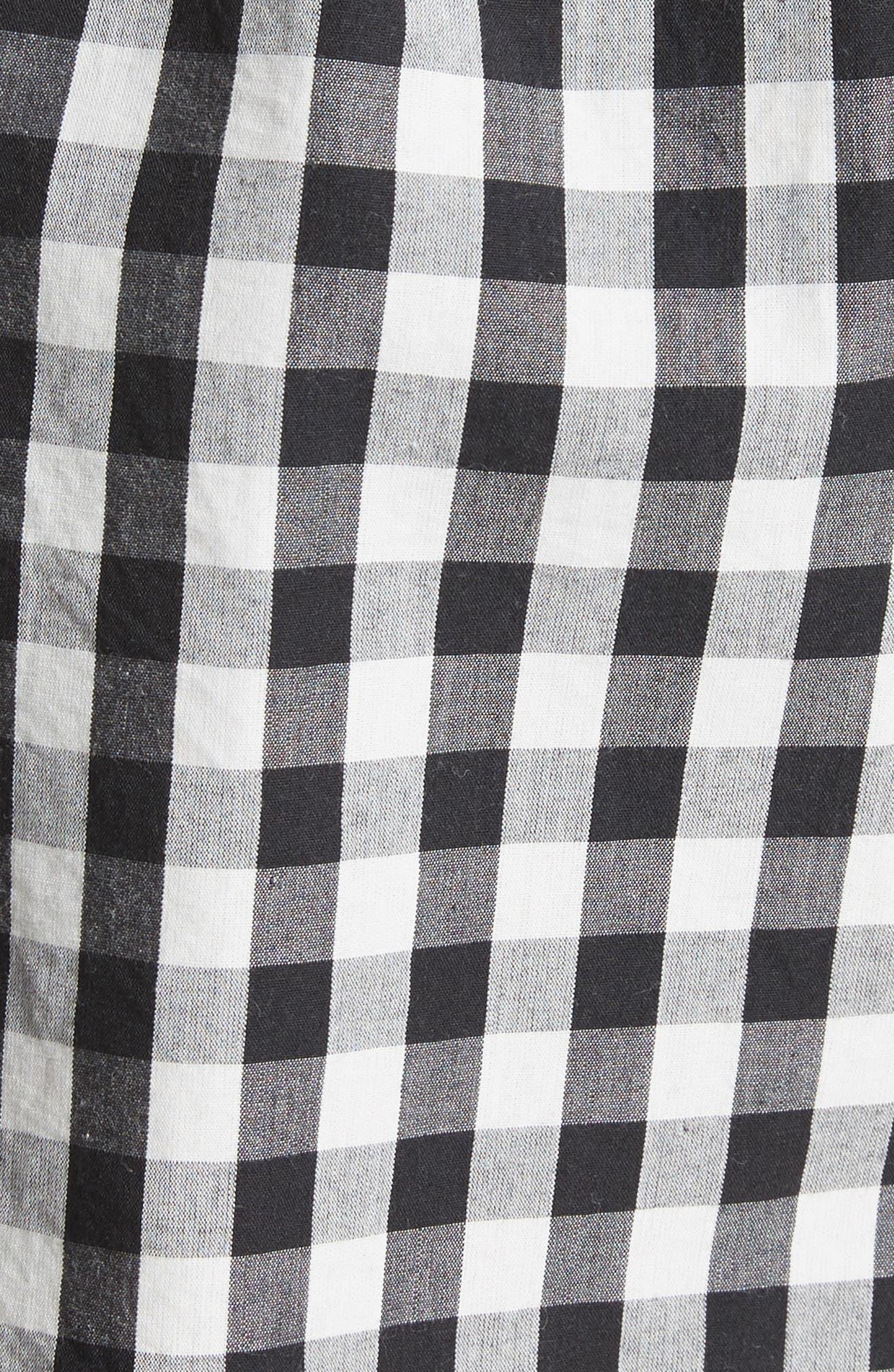 Cleantha Gingham Cotton Shorts,                             Alternate thumbnail 5, color,                             Caviar