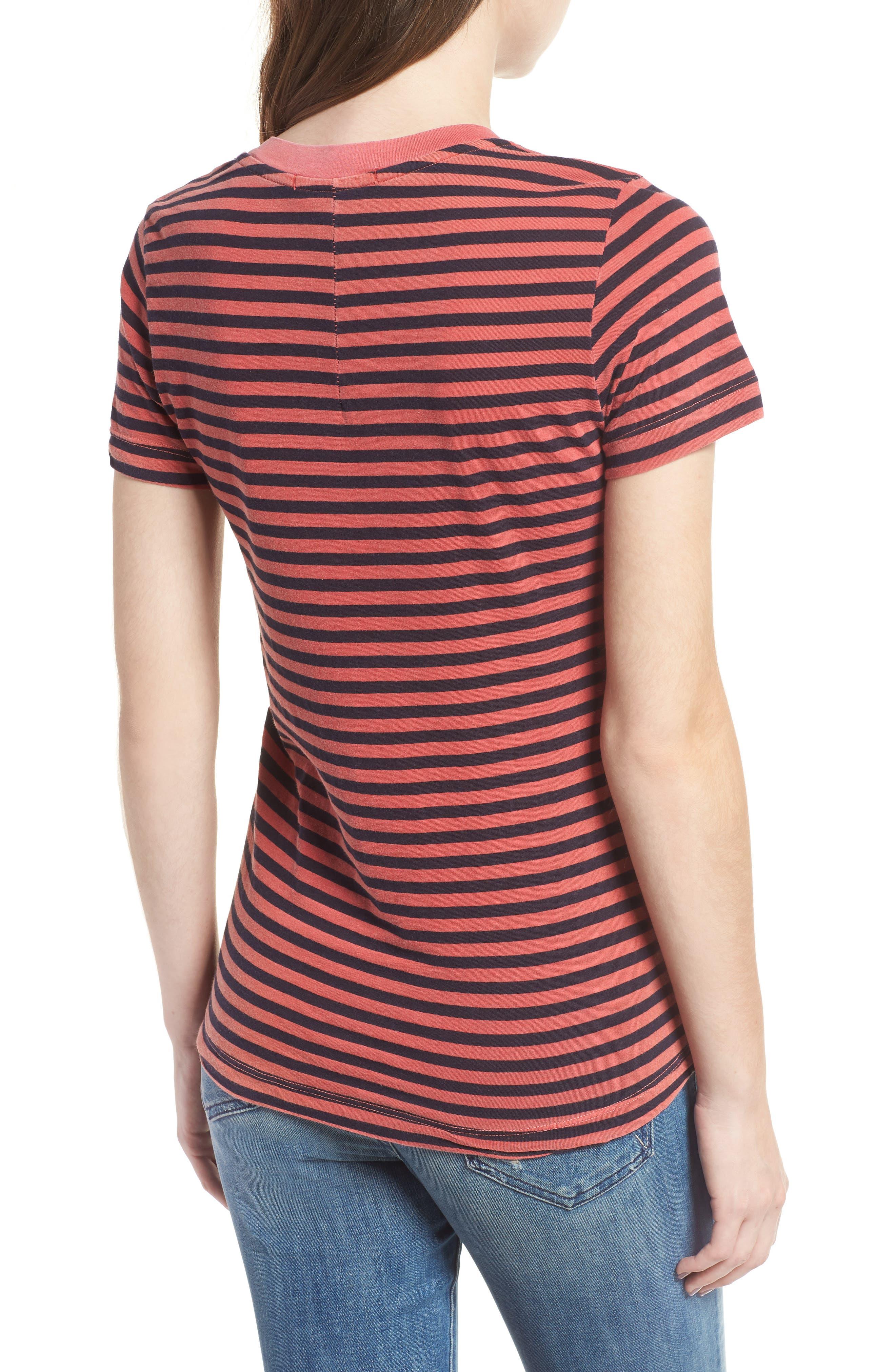 Stripe Cotton Boy Tee,                             Alternate thumbnail 2, color,                             Chili