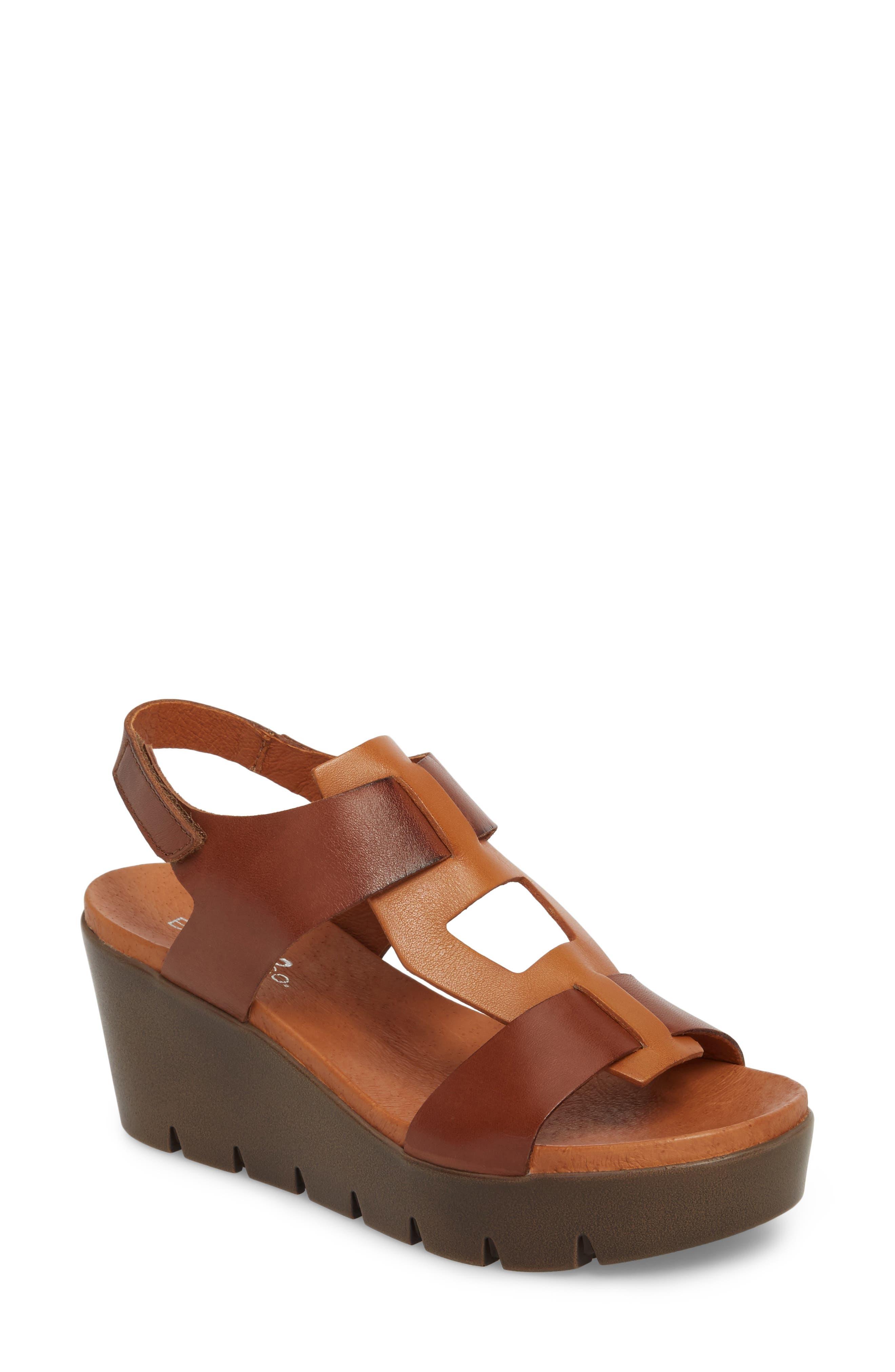 Somo Platform Wedge Sandal,                         Main,                         color, Cognac/ Camel Leather