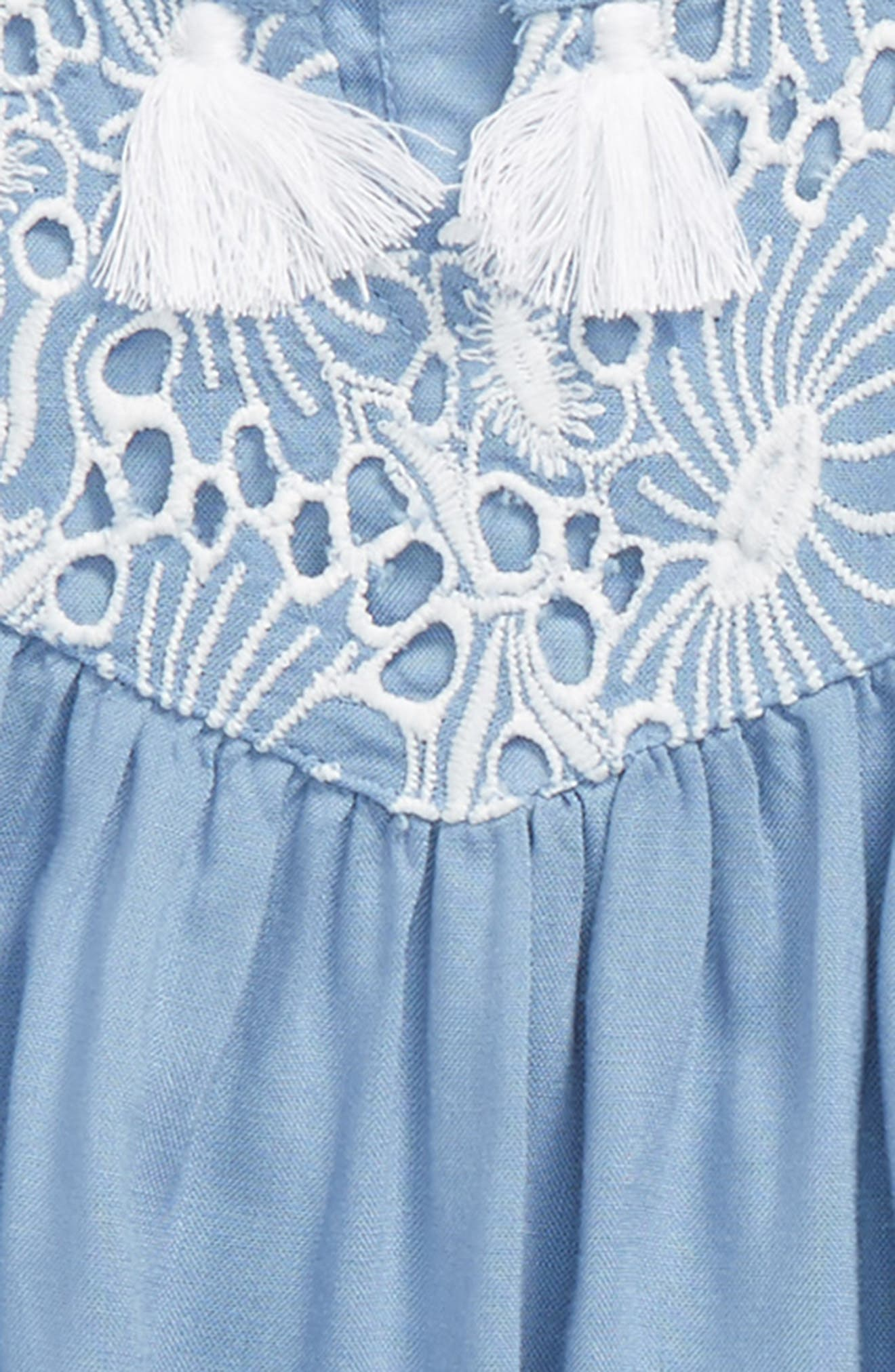 Embroidered Dress,                             Alternate thumbnail 2, color,                             Blue