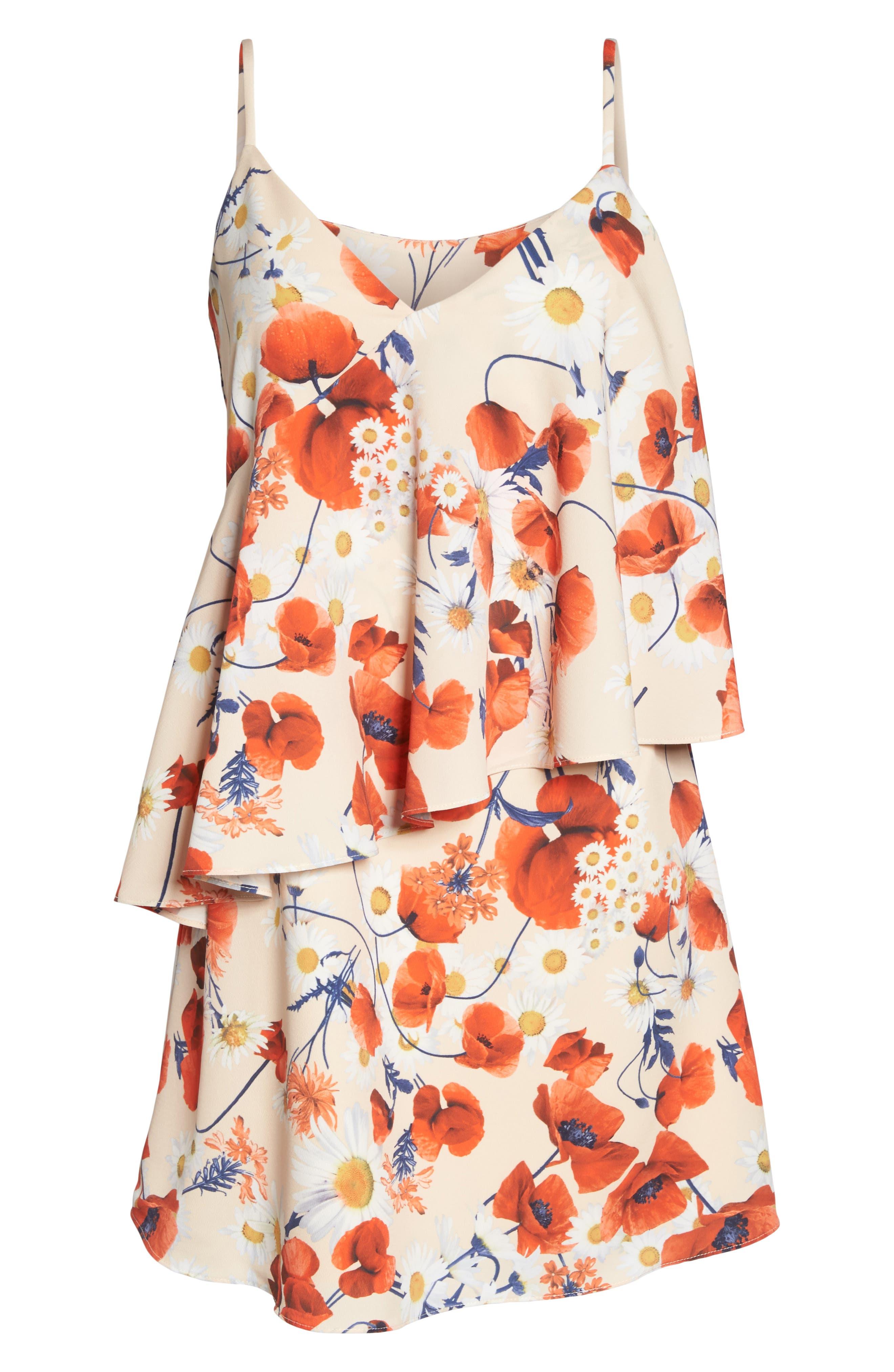 Cara Floral Layered Dress,                             Alternate thumbnail 6, color,                             Coral Floral
