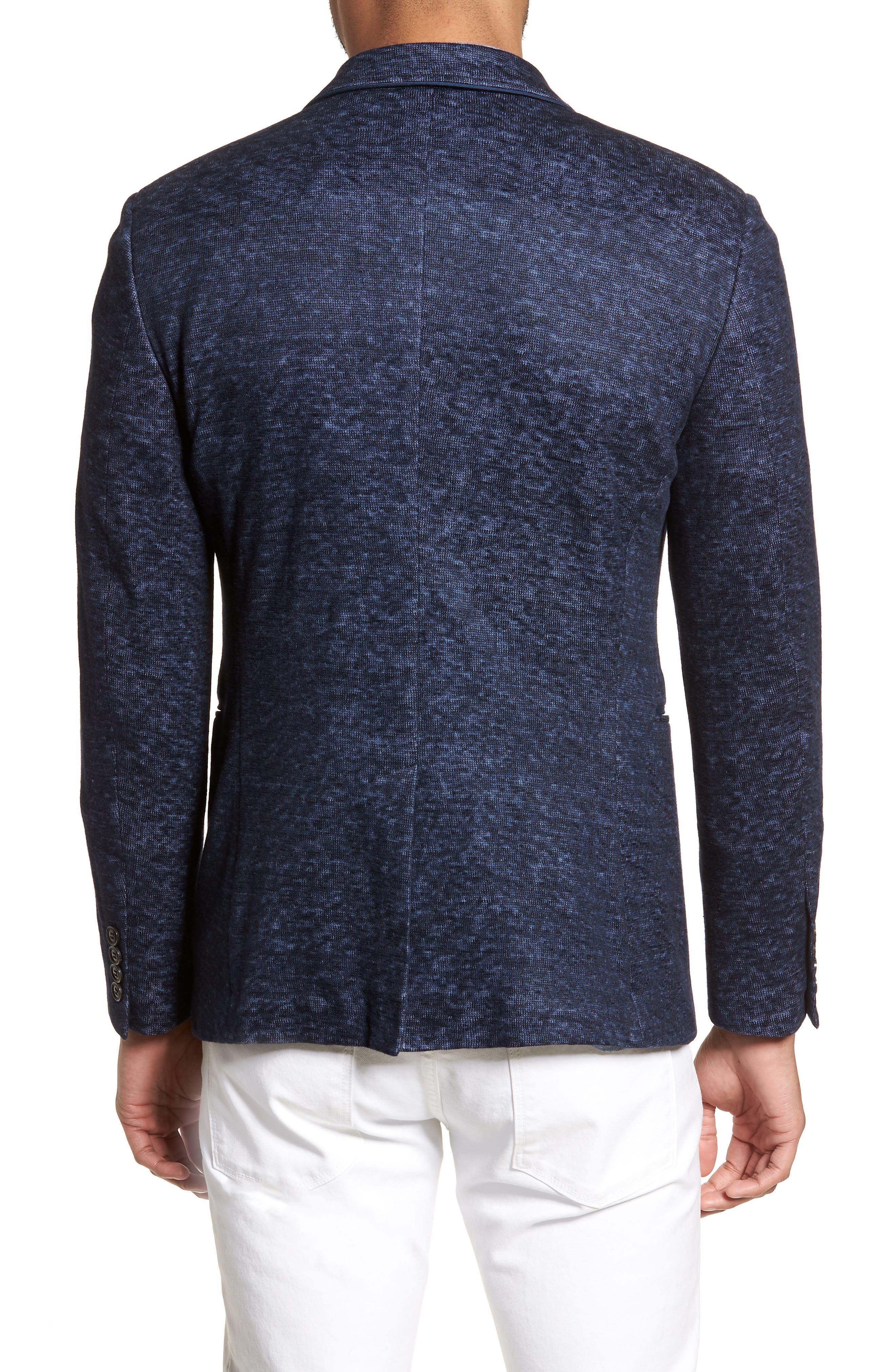 Regular Fit Cotton & Linen Blazer,                             Alternate thumbnail 2, color,                             Officer Blue