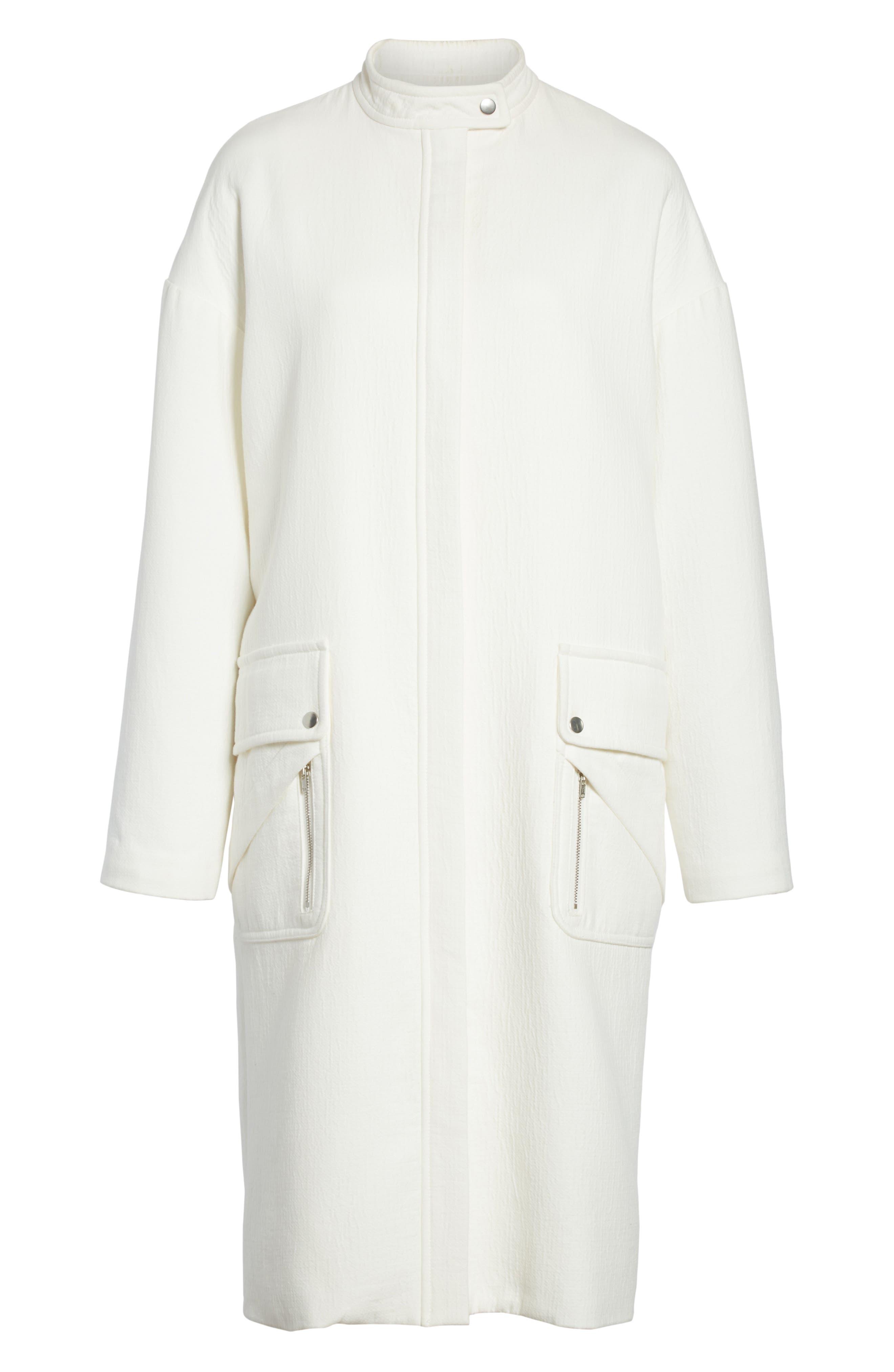 Ruffle Sleeve Cotton Coat,                             Alternate thumbnail 7, color,                             Linen