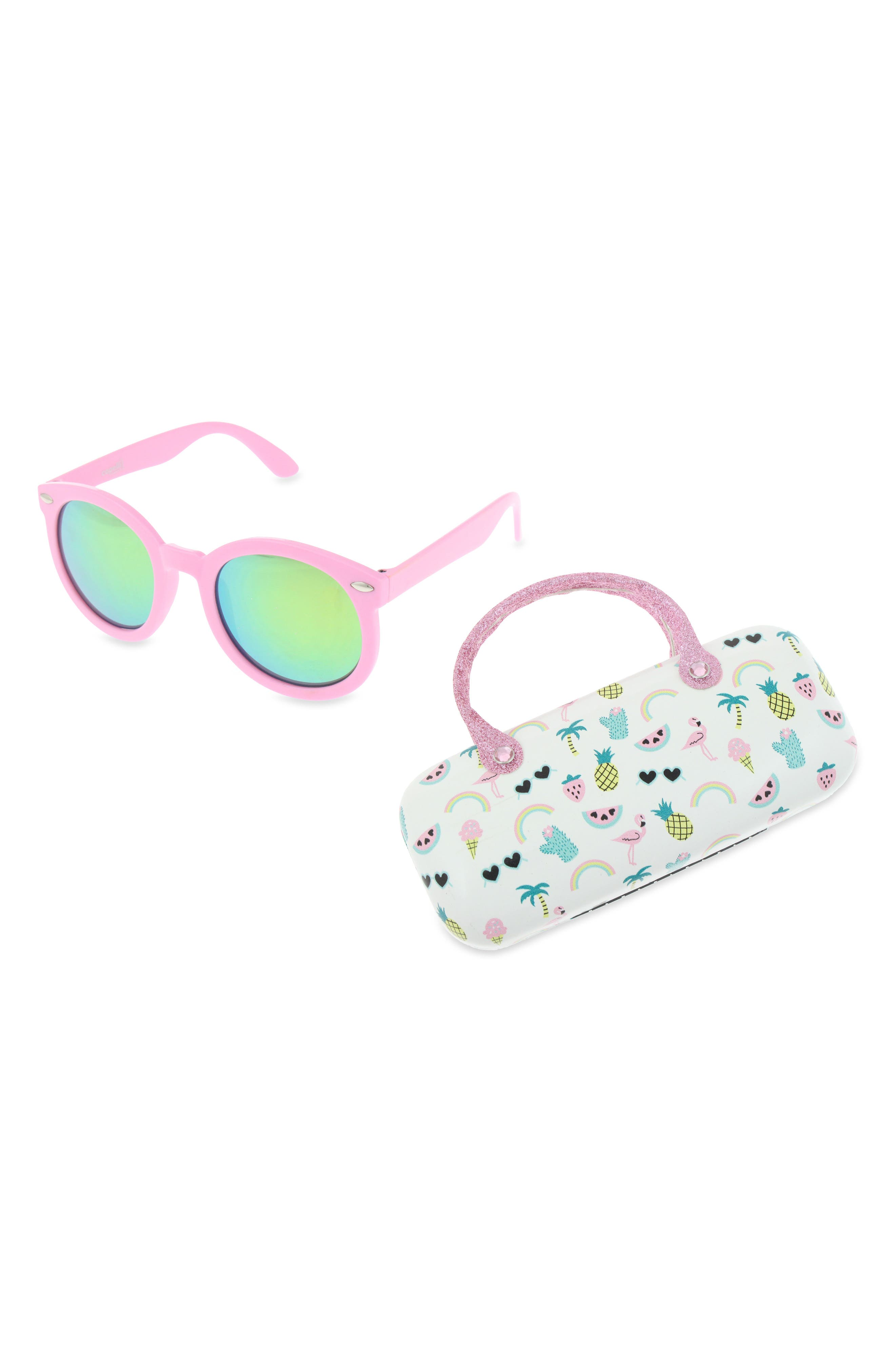 Main Image - Capelli New York Summer Fun 60mm Sunglasses & Case Set (Girls)