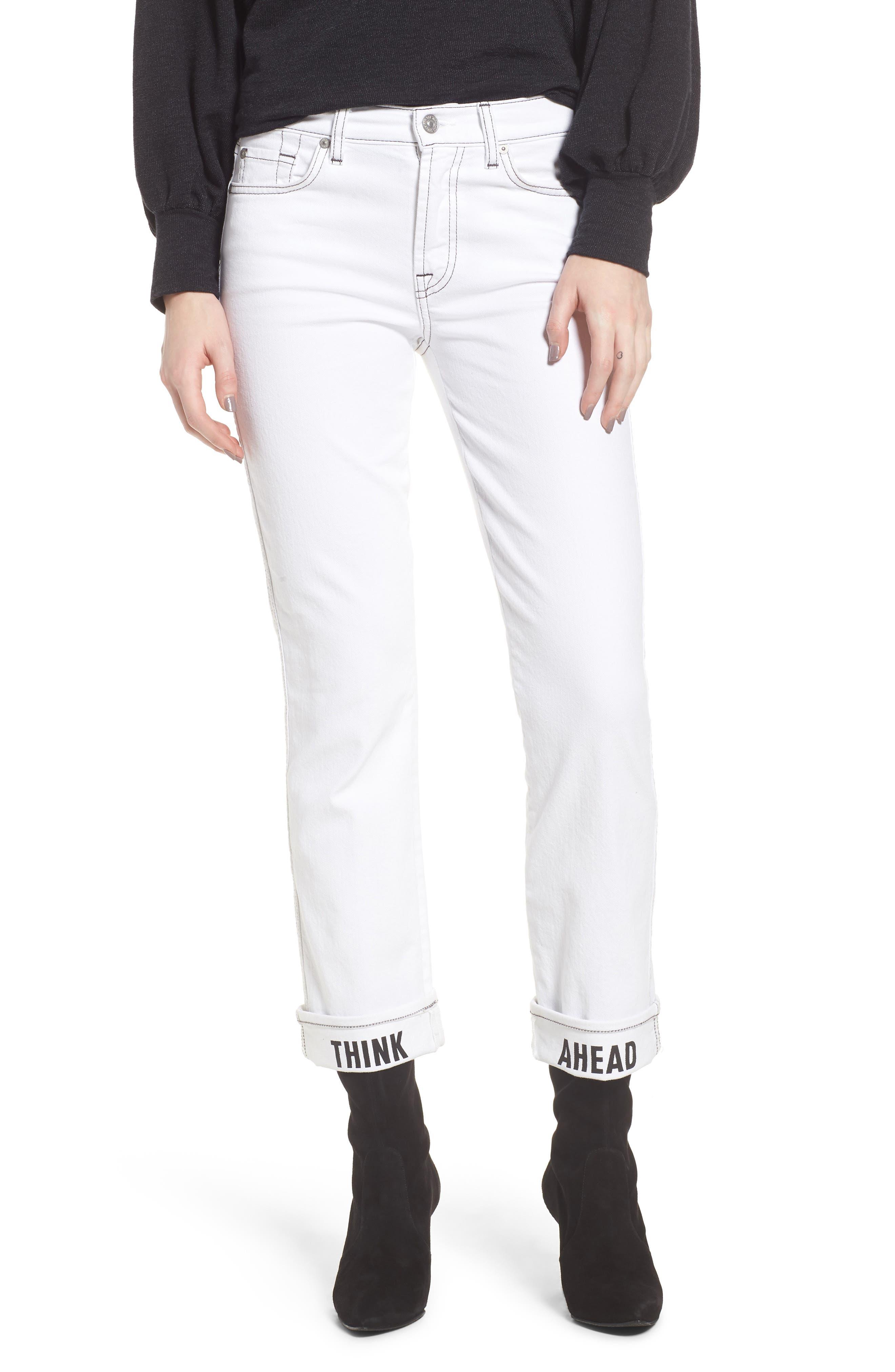 Dylan Print Cuff Straight Leg Jeans,                             Main thumbnail 1, color,                             White Fashion W/ Black Print