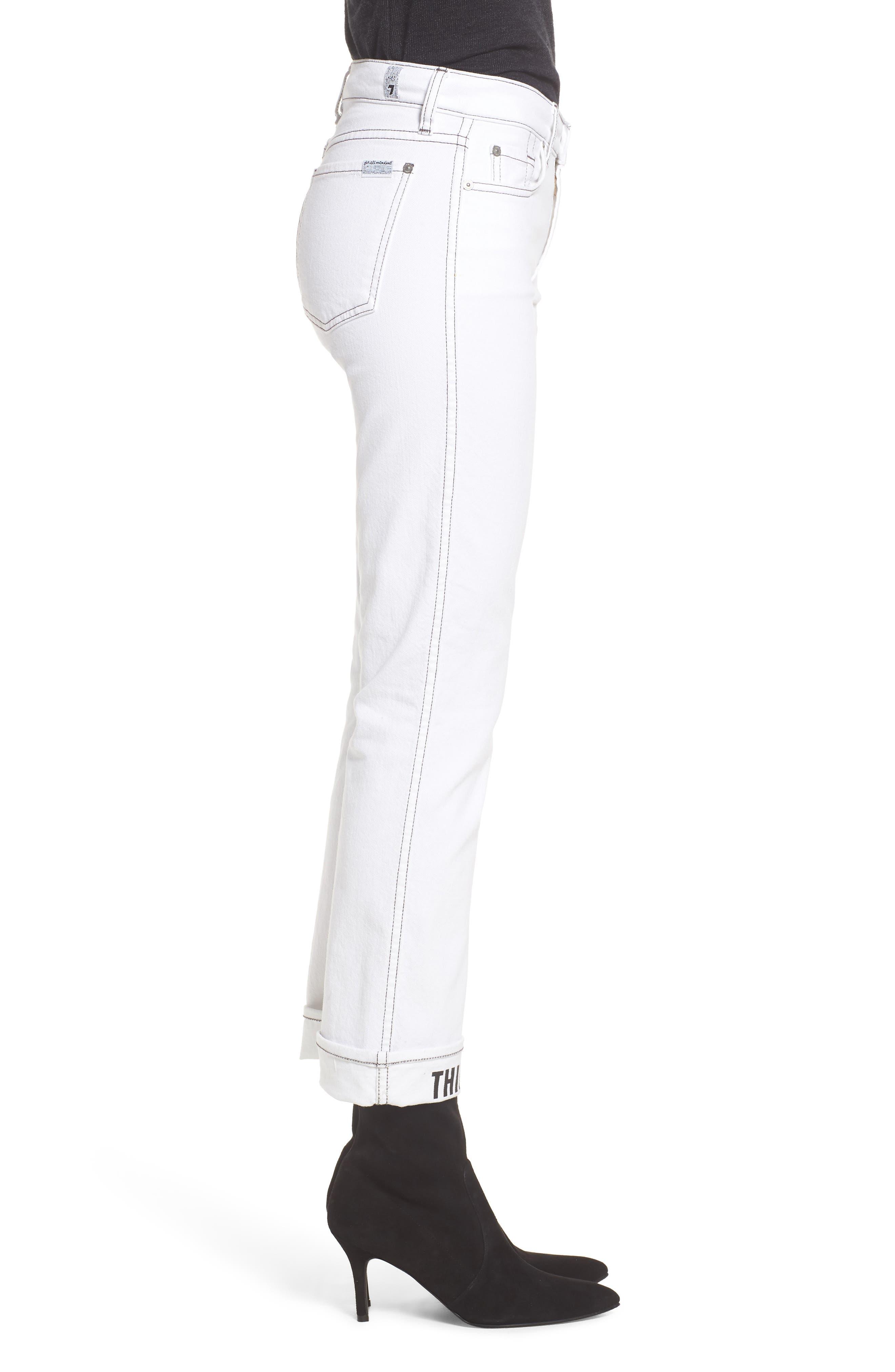 Dylan Print Cuff Straight Leg Jeans,                             Alternate thumbnail 3, color,                             White Fashion W/ Black Print