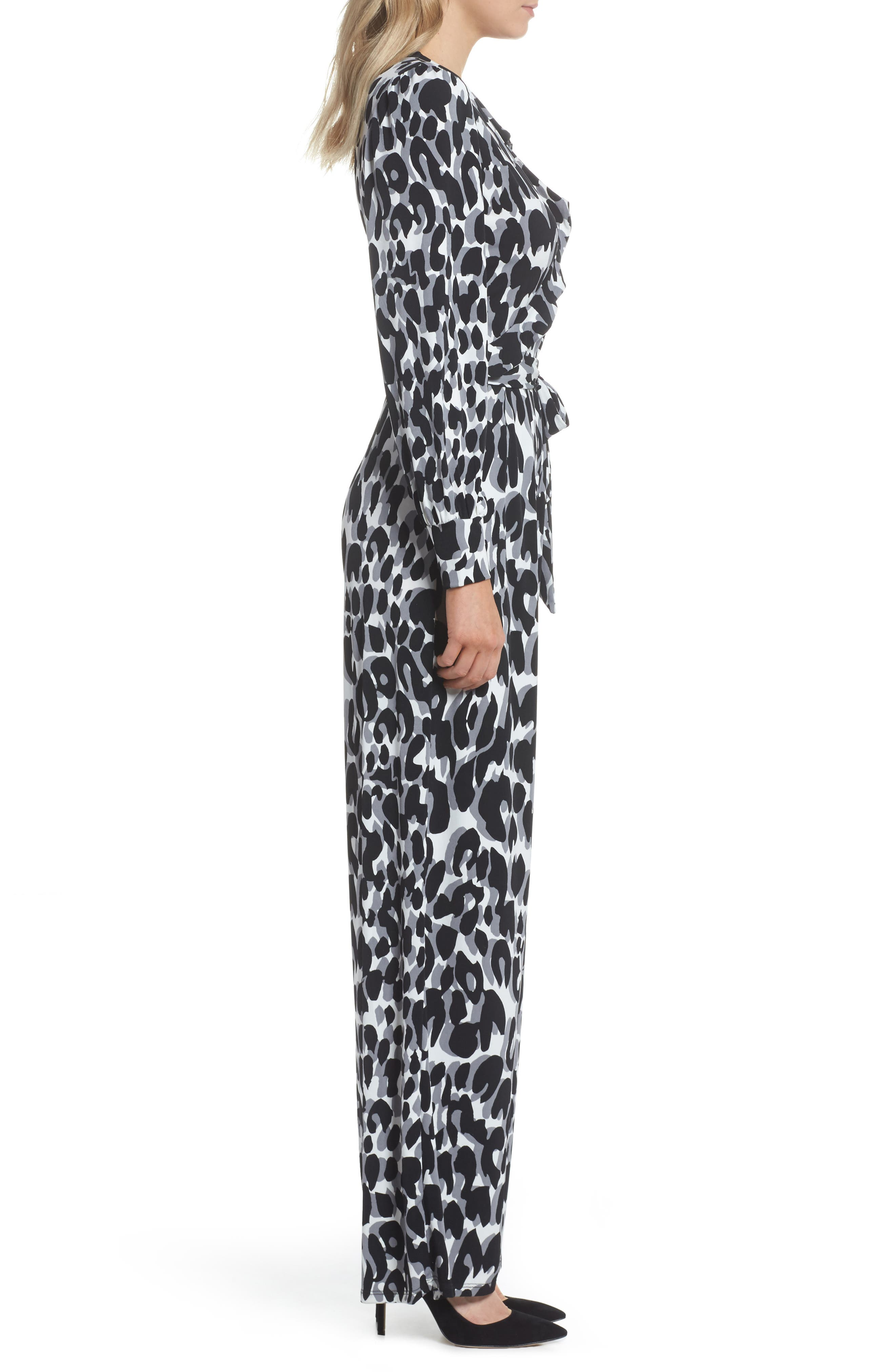 Julie Print Ruffle Jumpsuit,                             Alternate thumbnail 3, color,                             Painted Leopard Grey
