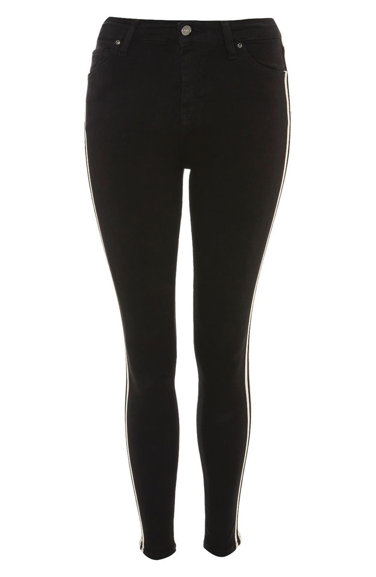 Moto Side Stripe Jeans,                             Alternate thumbnail 4, color,                             Black Multi