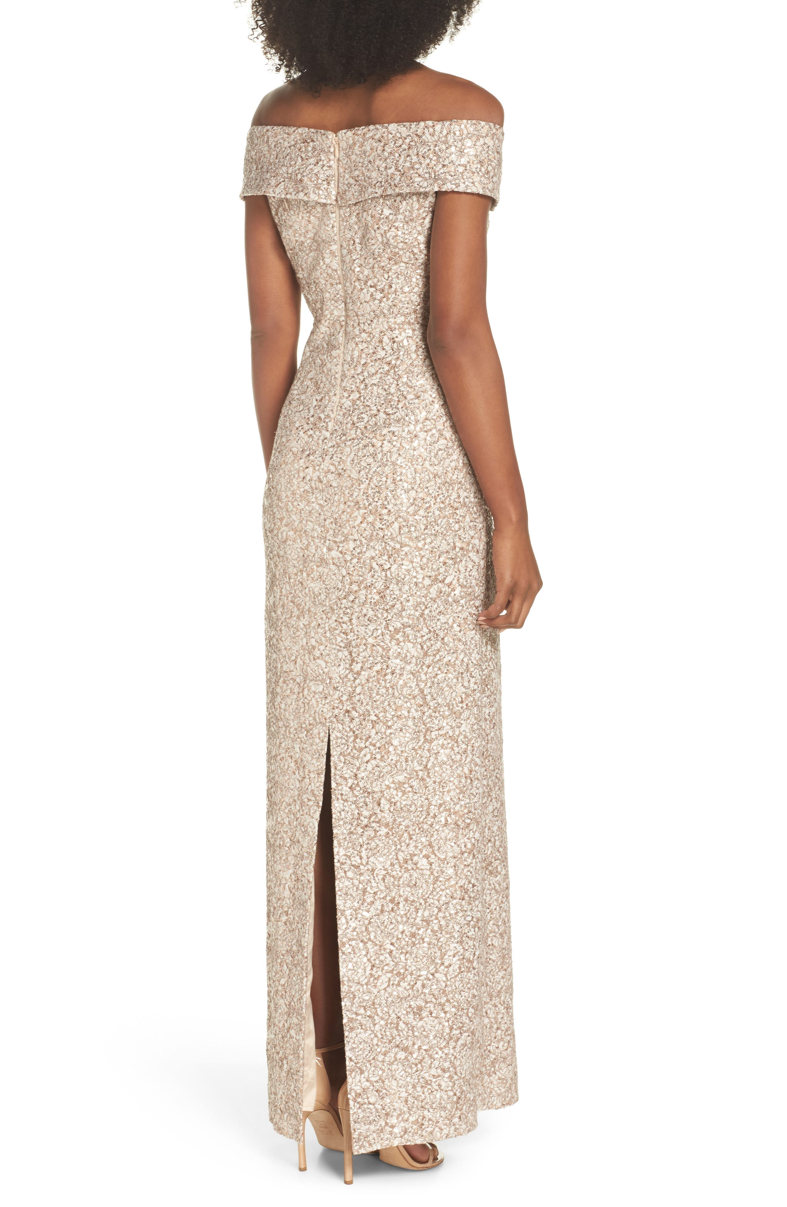 Off the Shoulder Sequin & Lace Gown,                             Alternate thumbnail 2, color,                             Taupe