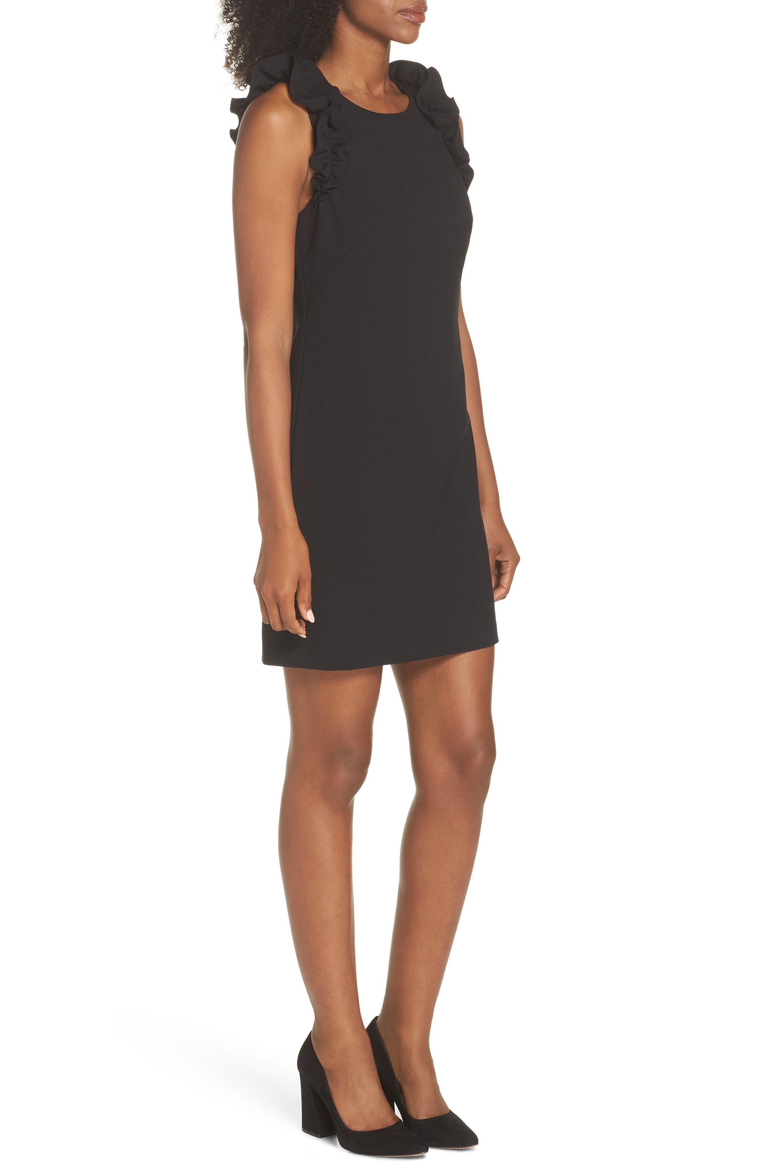 Ruffle Shoulder Crepe Shift Dress,                             Alternate thumbnail 3, color,                             Black