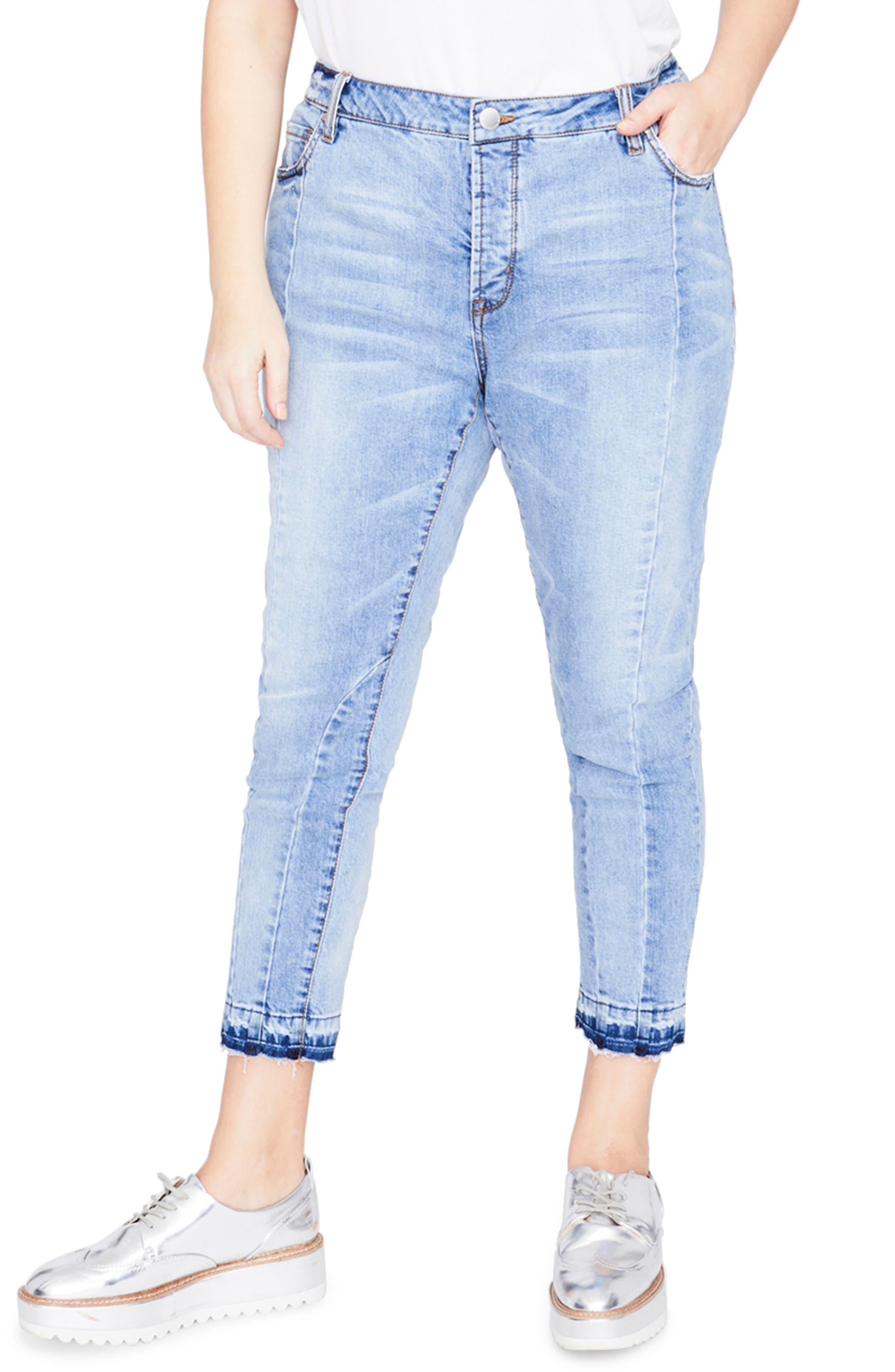 RACHEL Rachel Roy Curvy Seamed Crop Jeans (Valance Wash) (Plus Size)