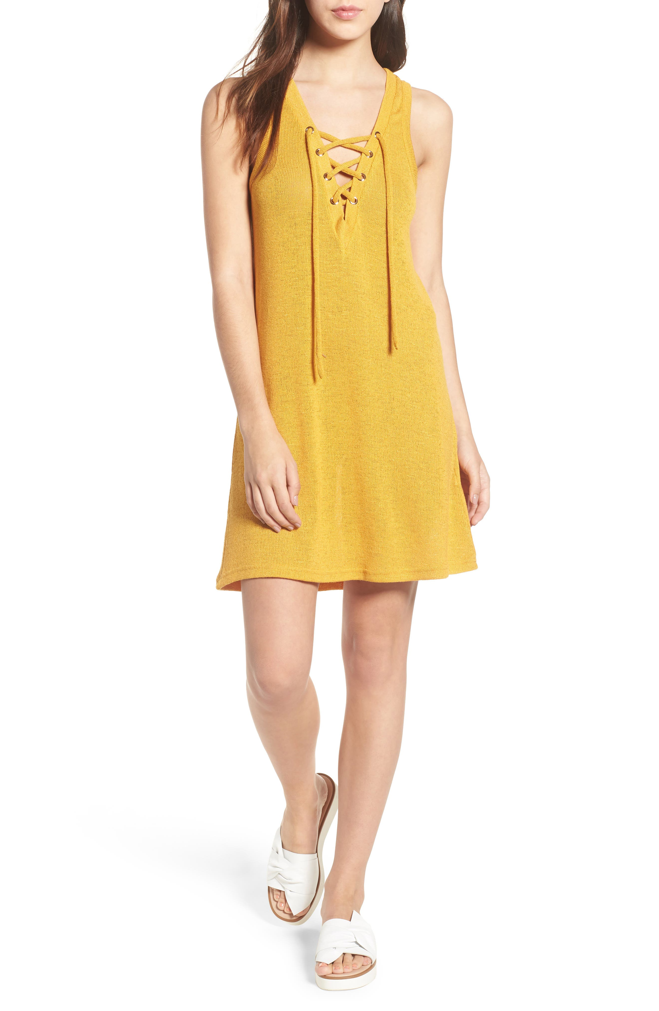 Heat Rising Lace-Up Dress,                             Main thumbnail 1, color,                             Saffron