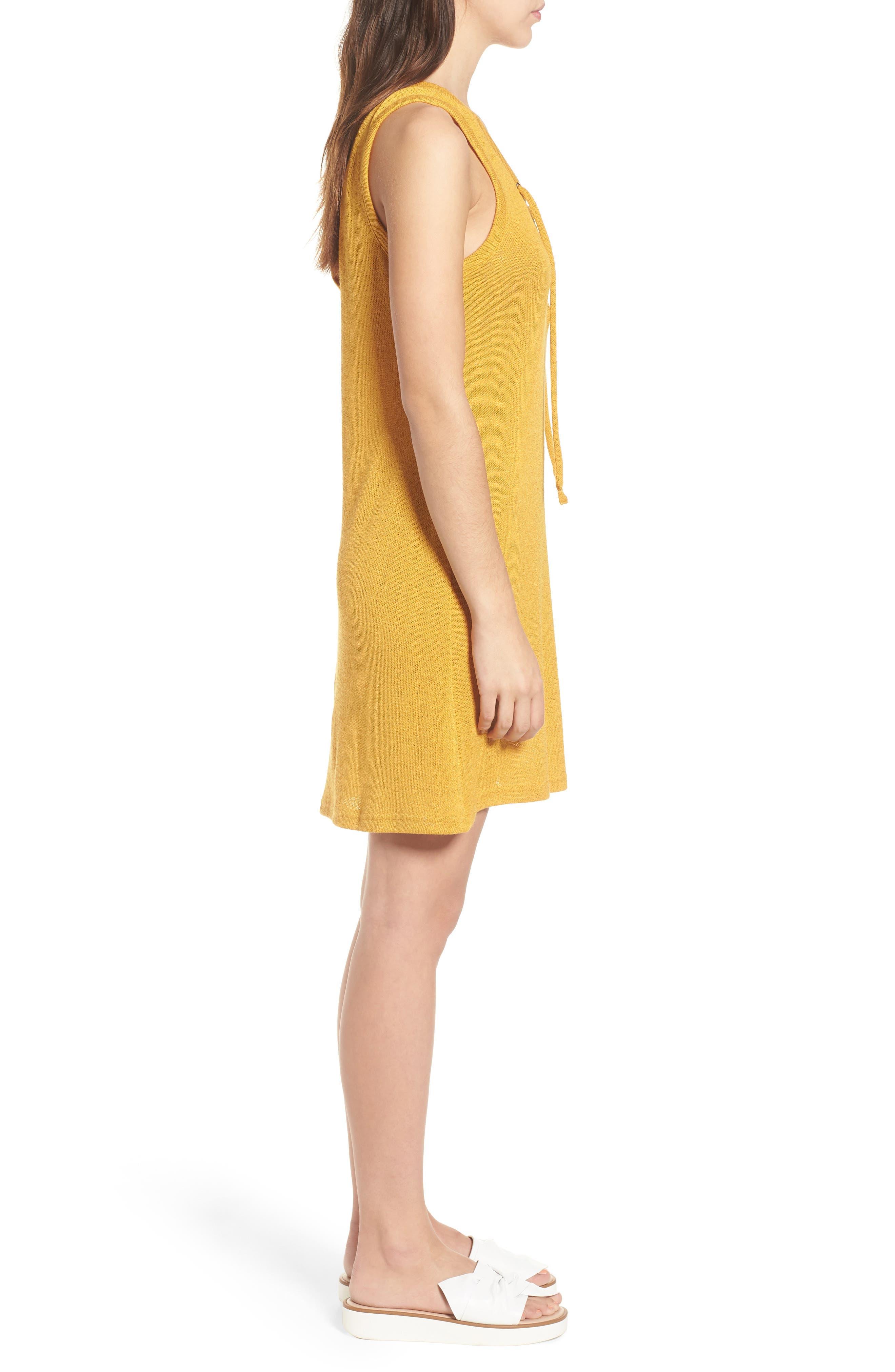 Heat Rising Lace-Up Dress,                             Alternate thumbnail 4, color,                             Saffron