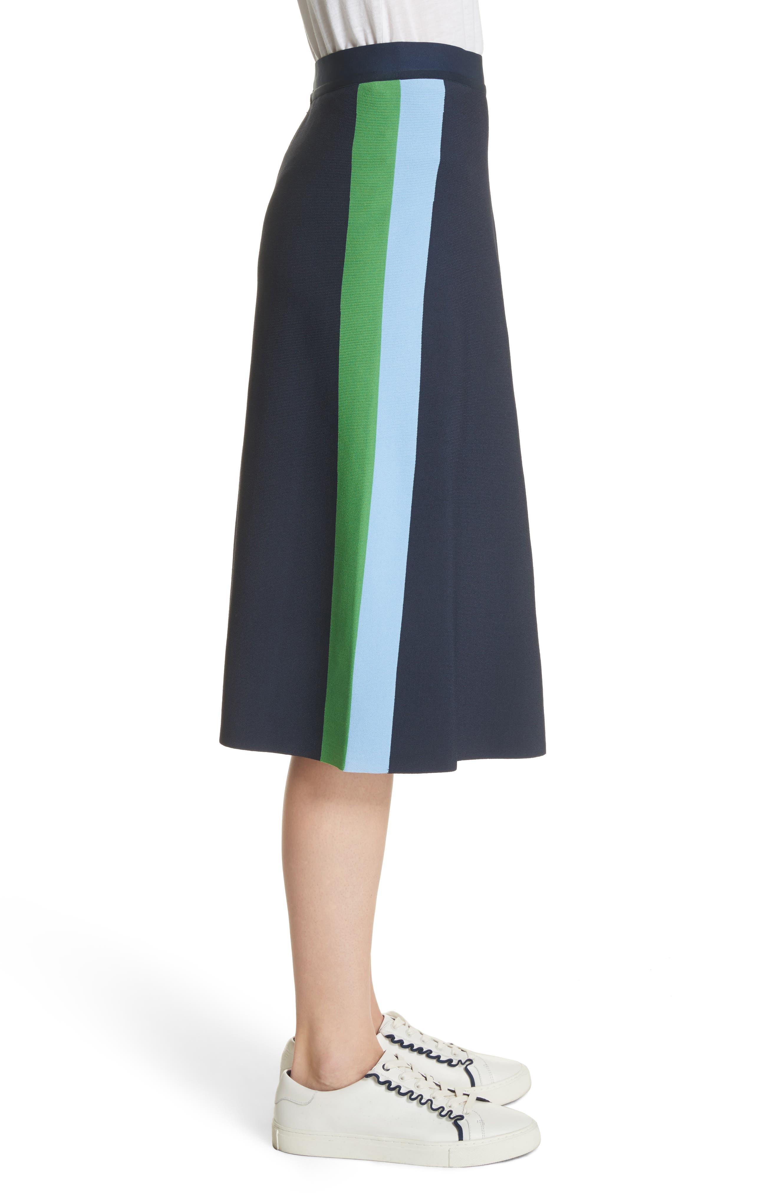 Tech Knit Colorblock Skirt,                             Alternate thumbnail 3, color,                             Tory Navy