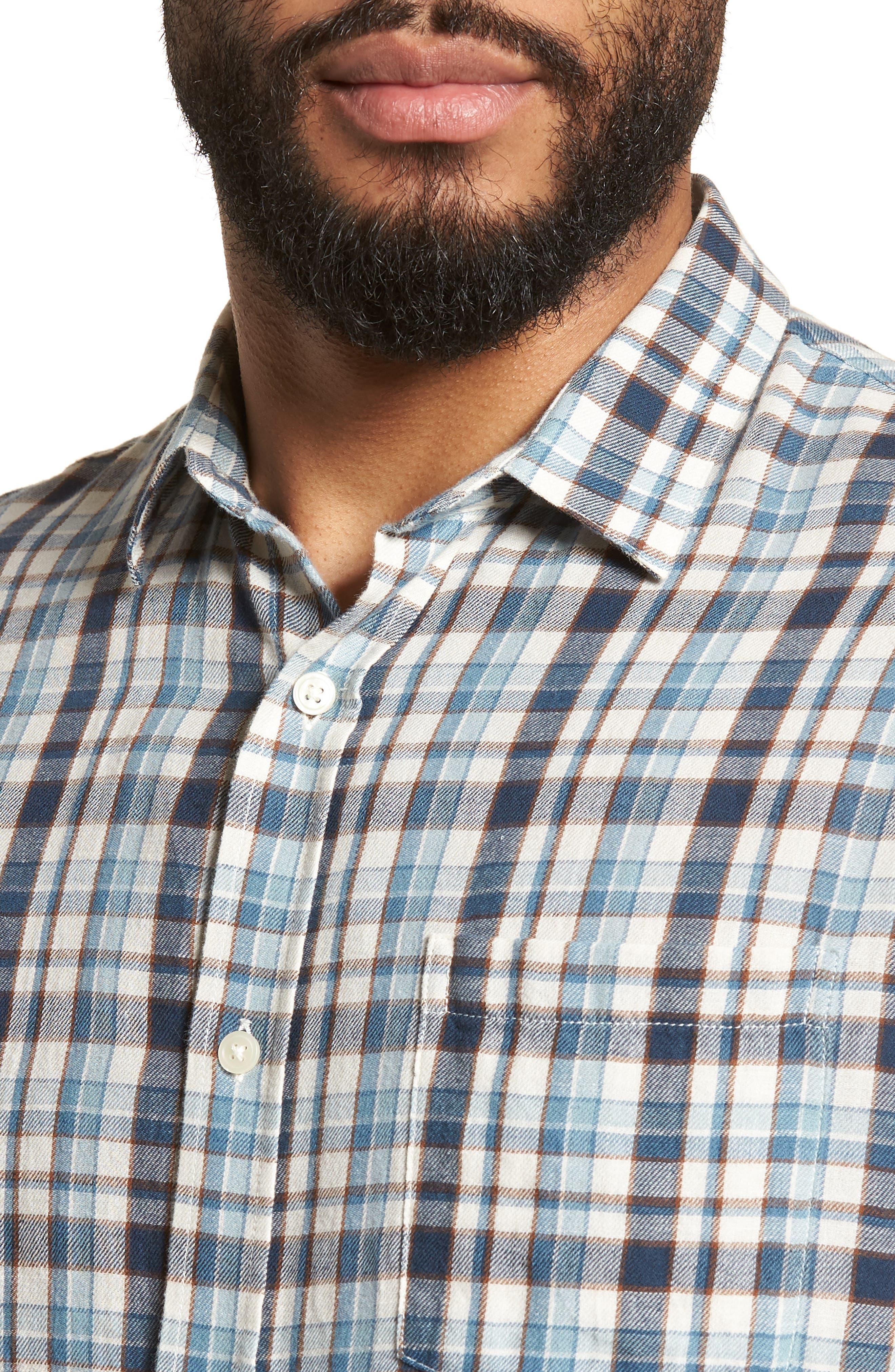 Slim Fit Plaid Sport Shirt,                             Alternate thumbnail 4, color,                             White/ Blue