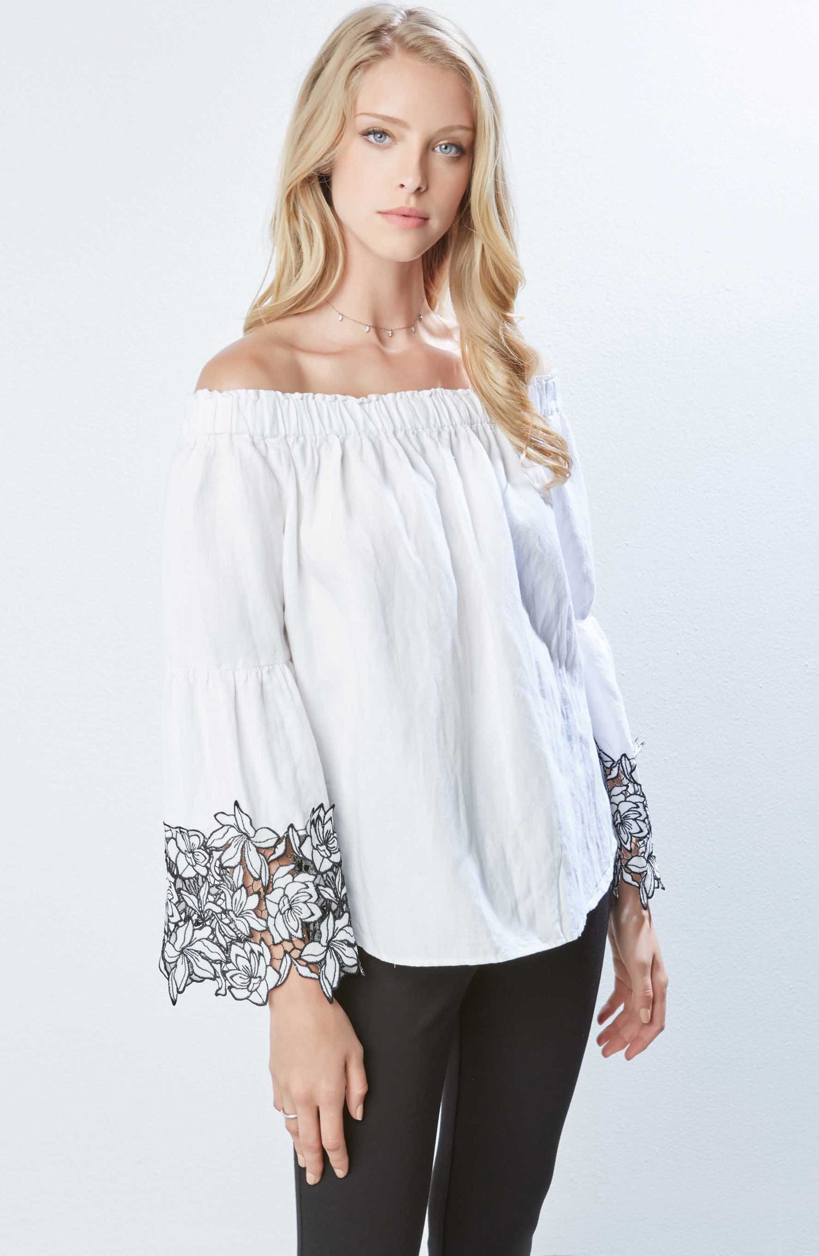 Off the Shoulder Top,                             Alternate thumbnail 2, color,                             Off White