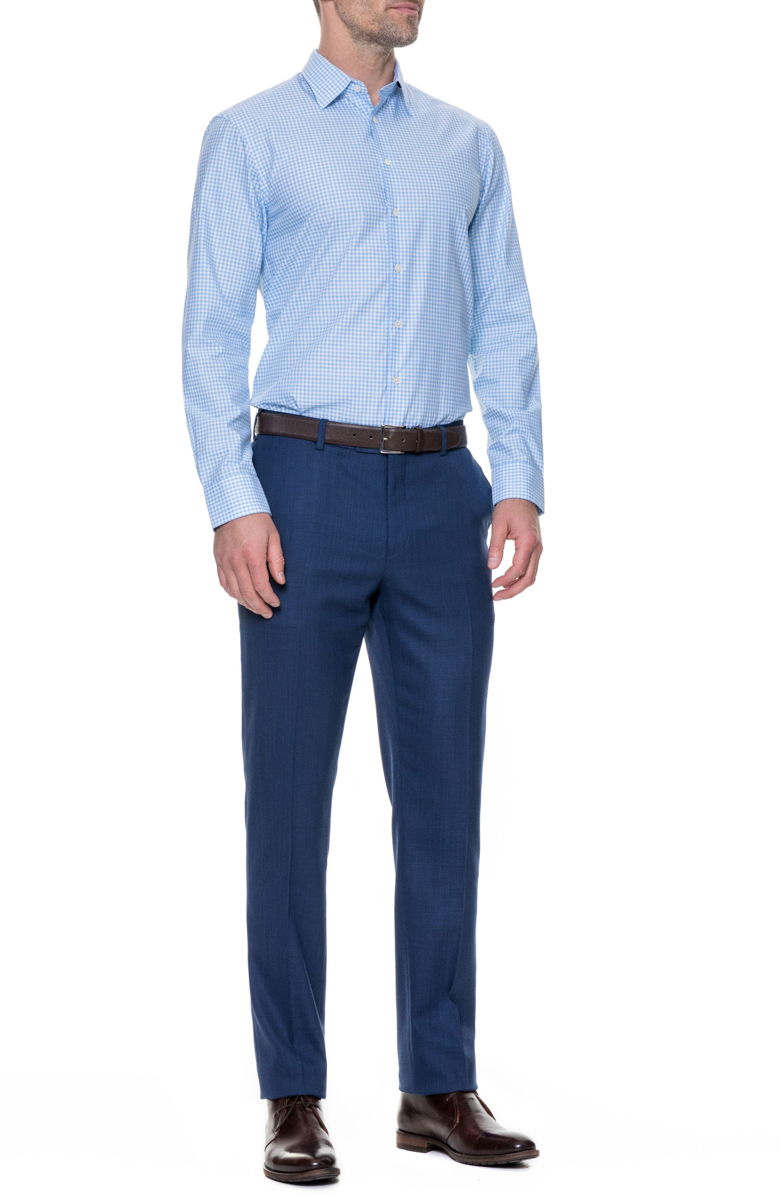 Tudor Slim Fit Check Sport Shirt,                             Alternate thumbnail 4, color,                             Sky