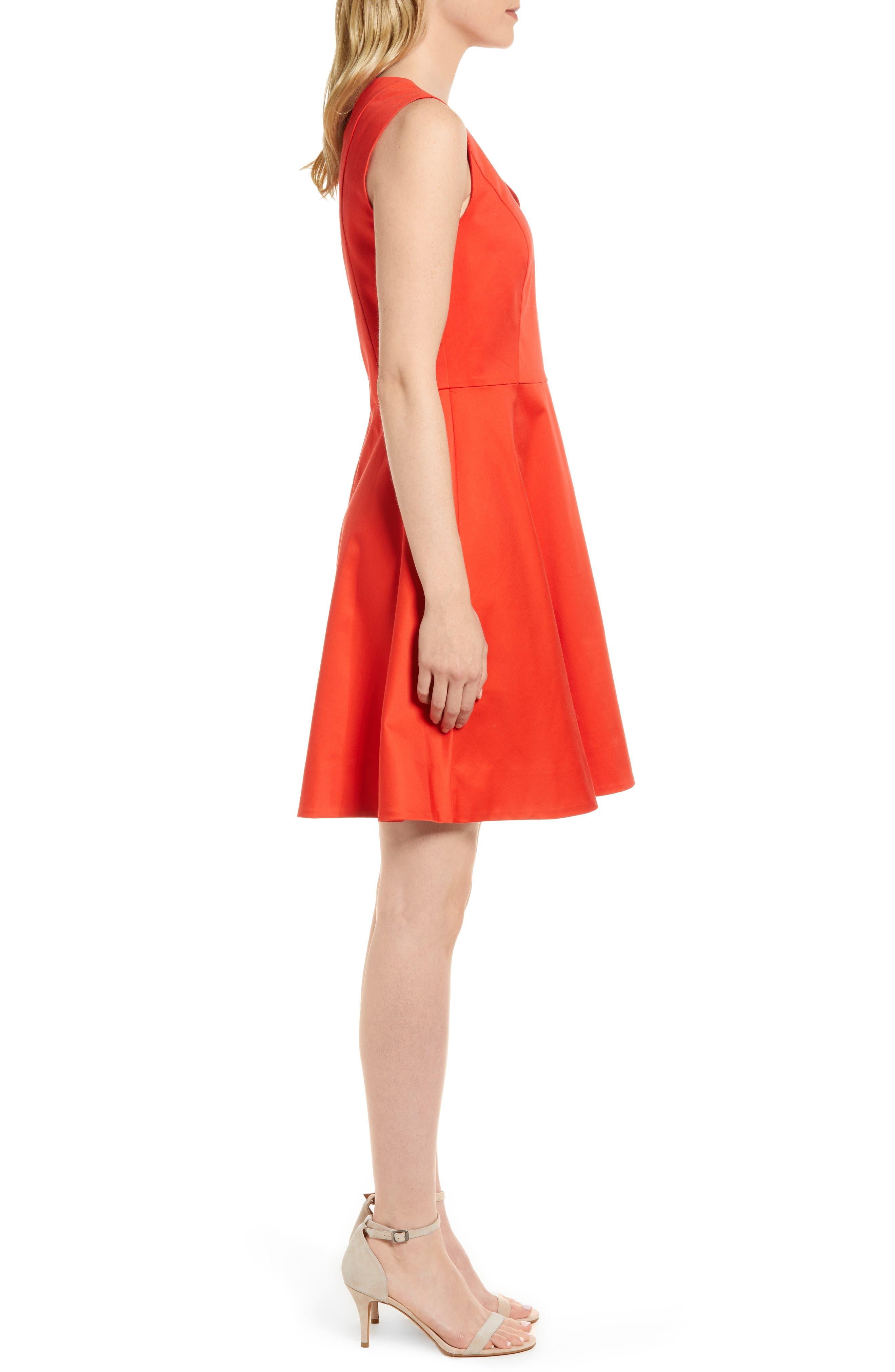 Love Circle V-Neck Dress,                             Alternate thumbnail 3, color,                             Red