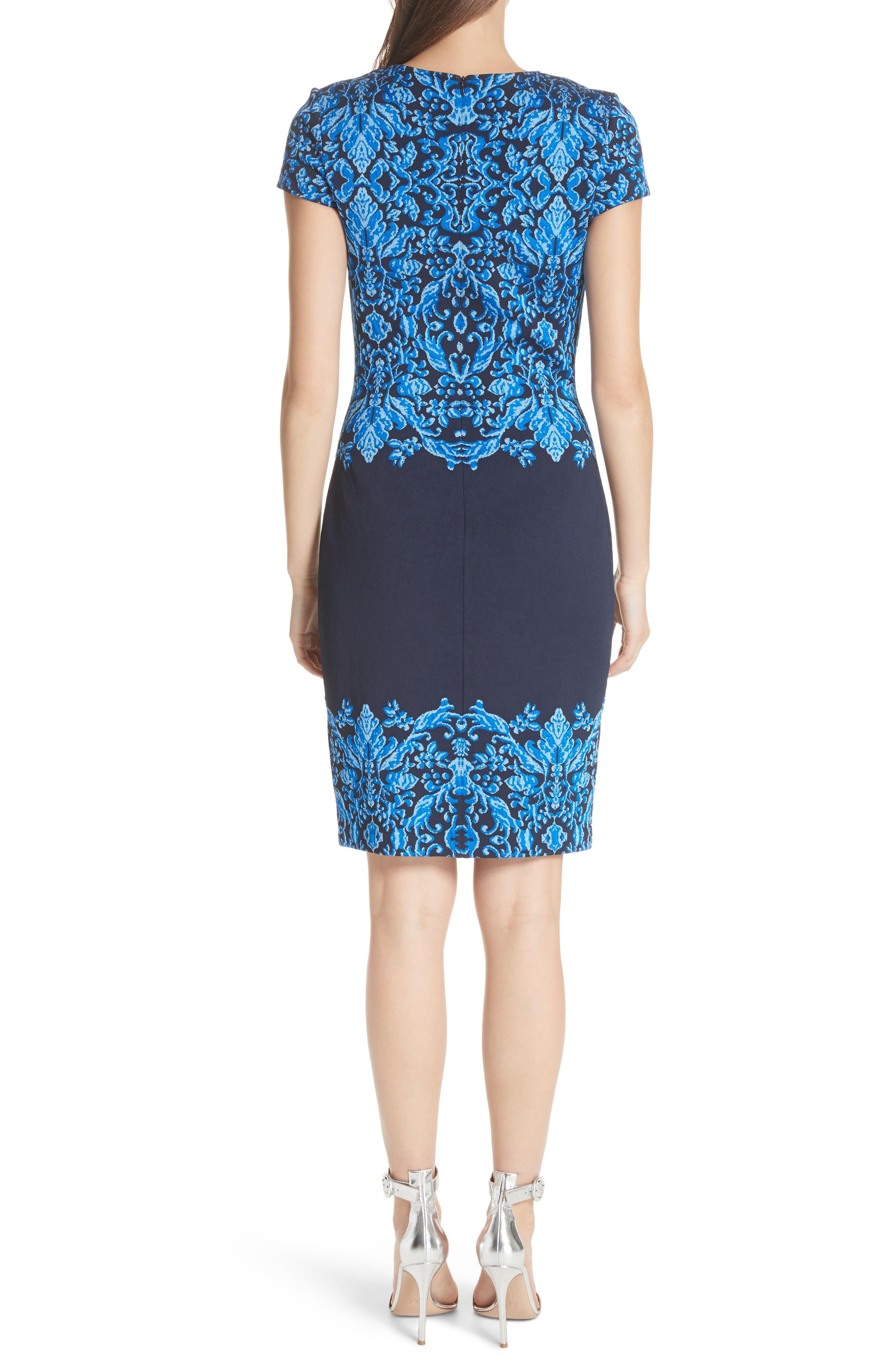 Cool Tones Brocade Knit Dress,                             Alternate thumbnail 2, color,                             Cobalt Multi