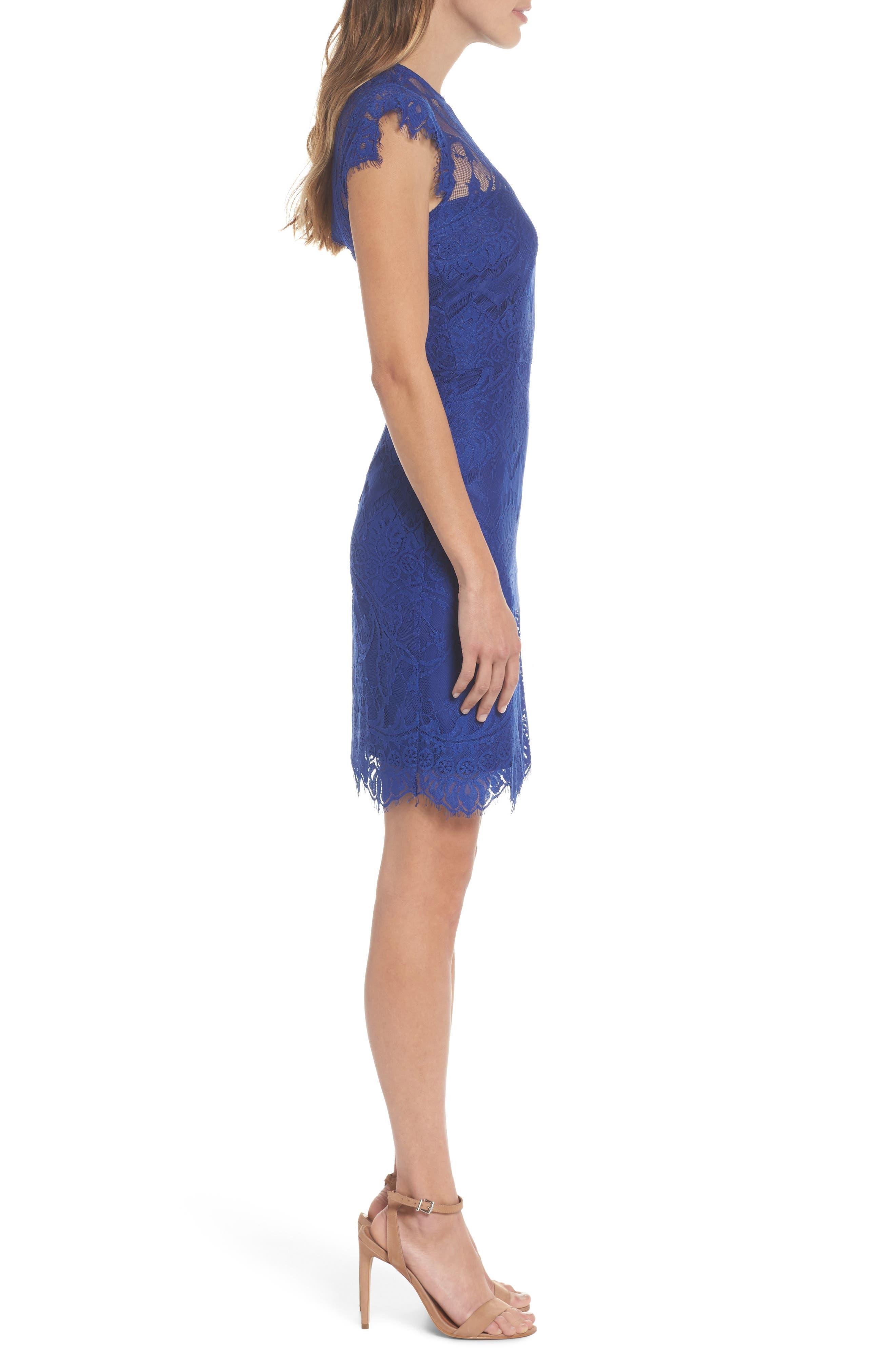 Jayce Lace Sheath Dress,                             Alternate thumbnail 3, color,                             Sapphire