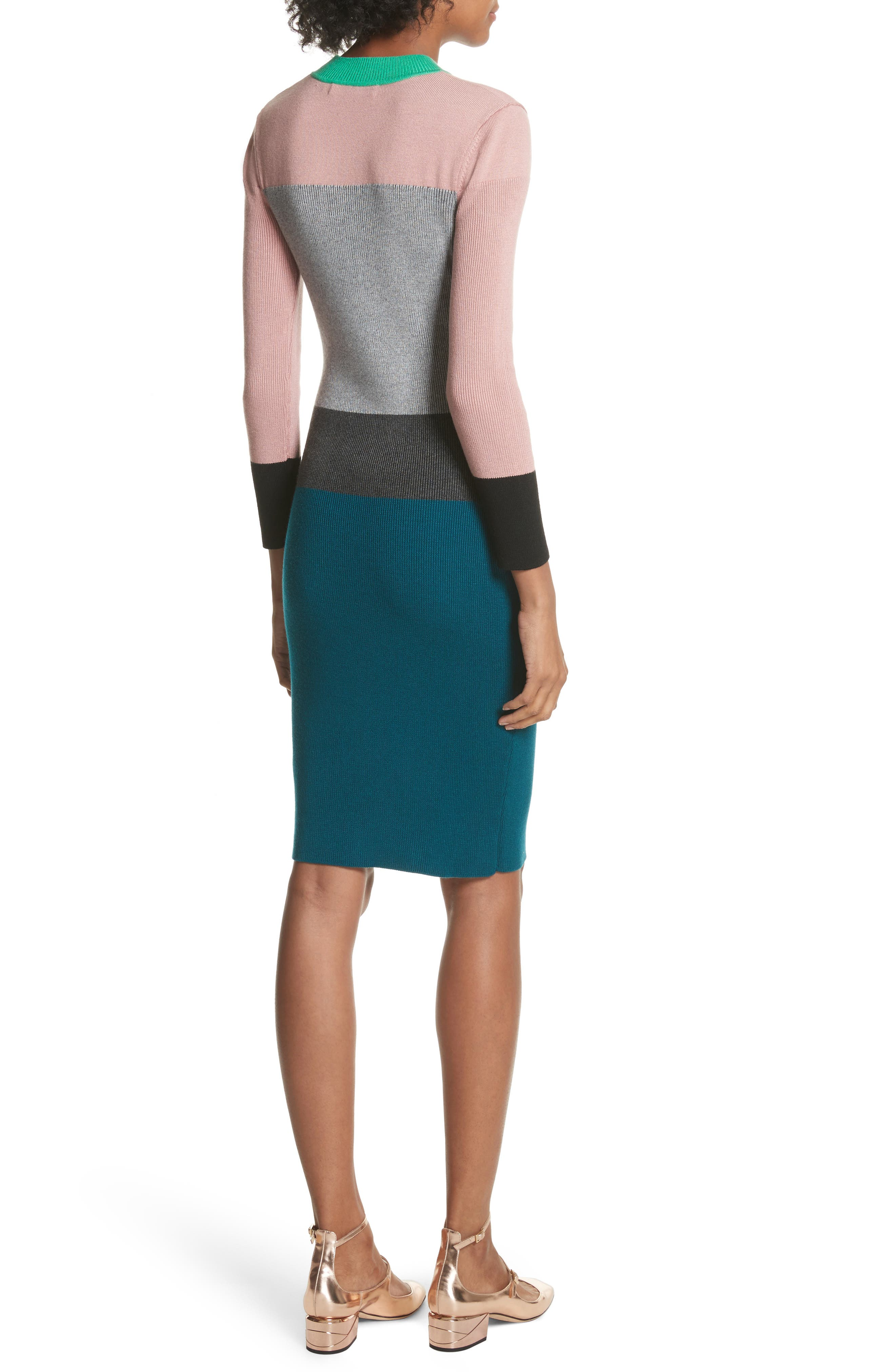 Colour by Numbers Colorblock Sweater Dress,                             Alternate thumbnail 2, color,                             Grey