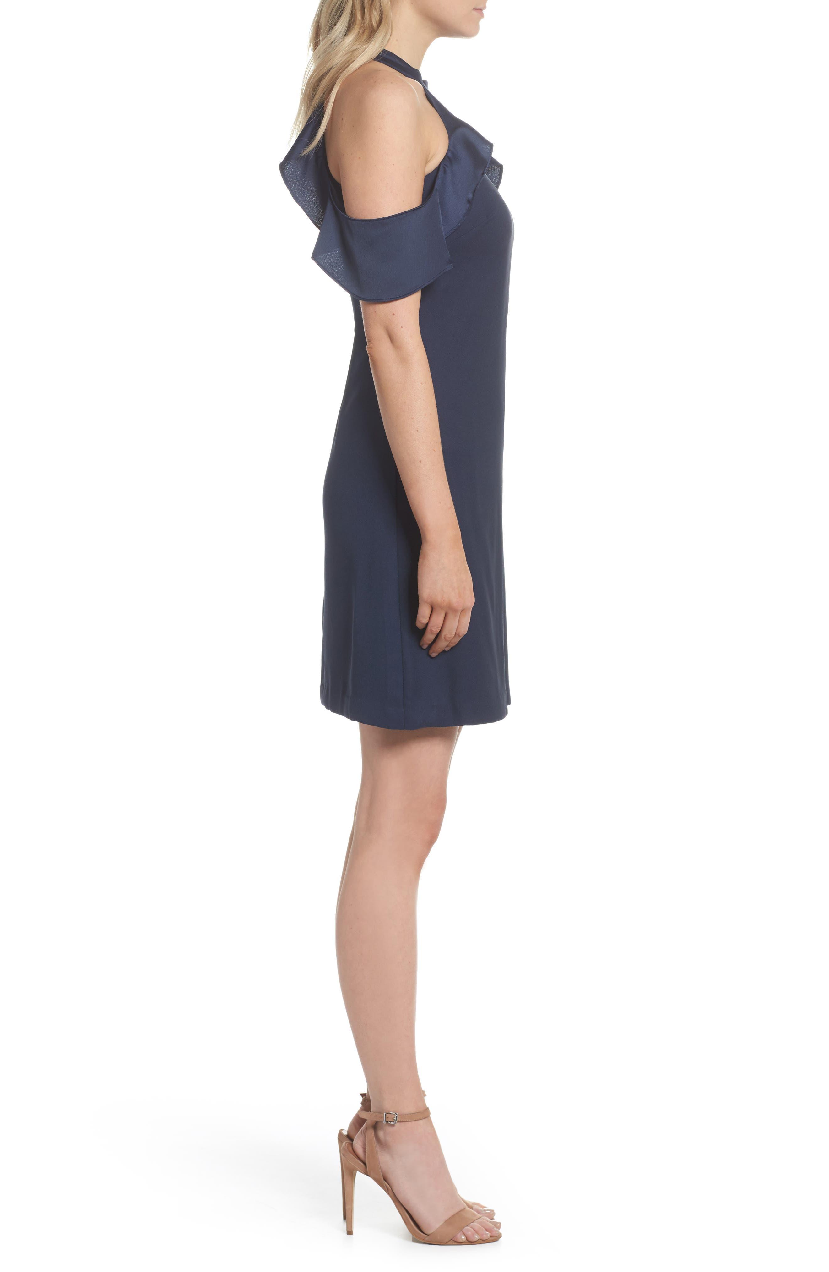 Cold Shoulder Satin Trim Dress,                             Alternate thumbnail 3, color,                             Navy