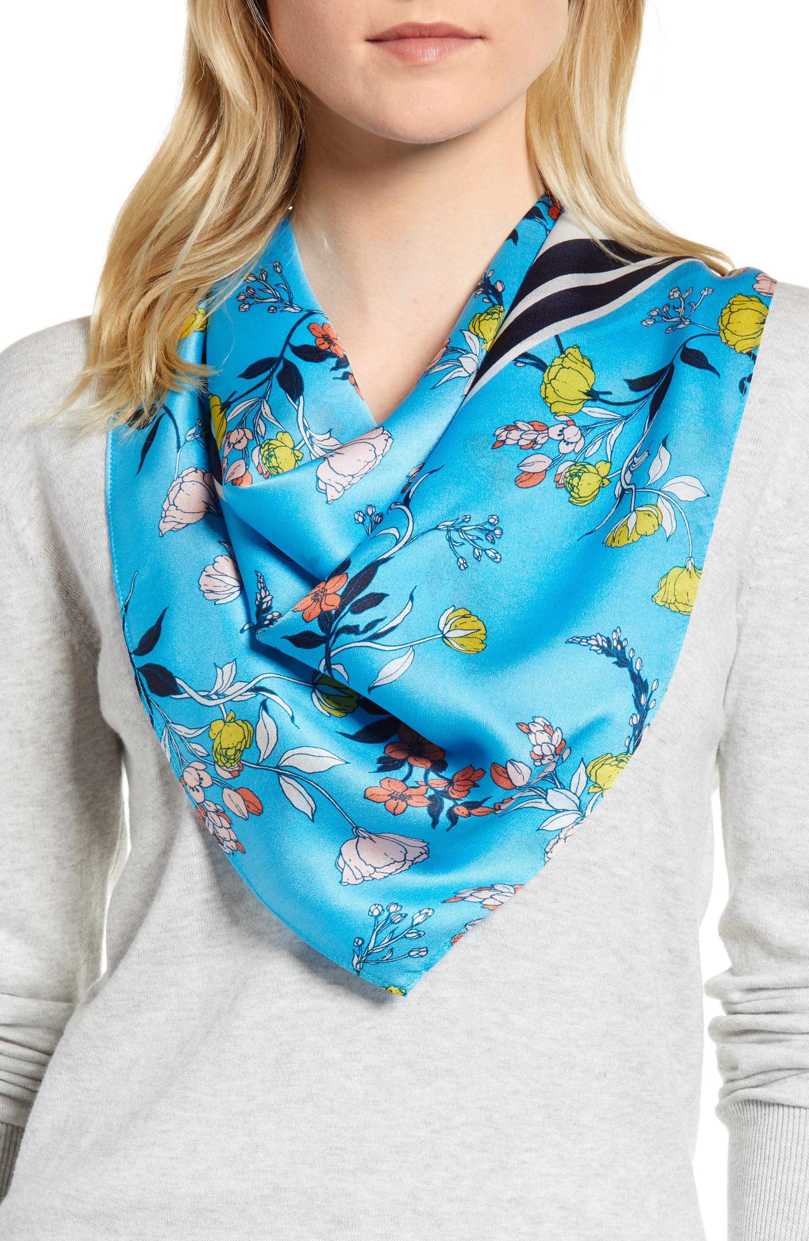 Print Silk Scarf,                             Main thumbnail 1, color,                             Blue Graphic Floral Mix