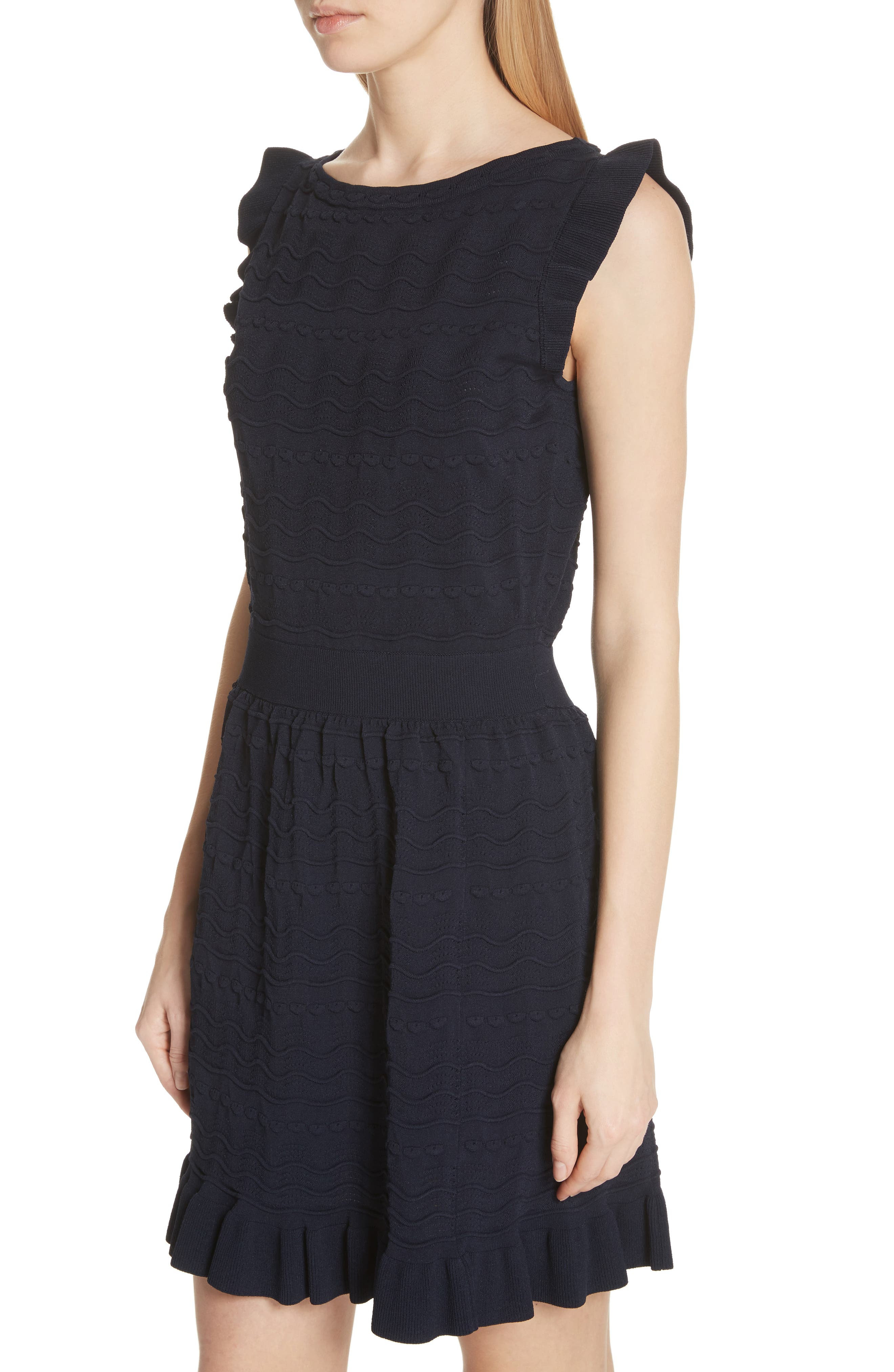 kate spade textured sweater dress,                             Alternate thumbnail 4, color,                             Rich Navy