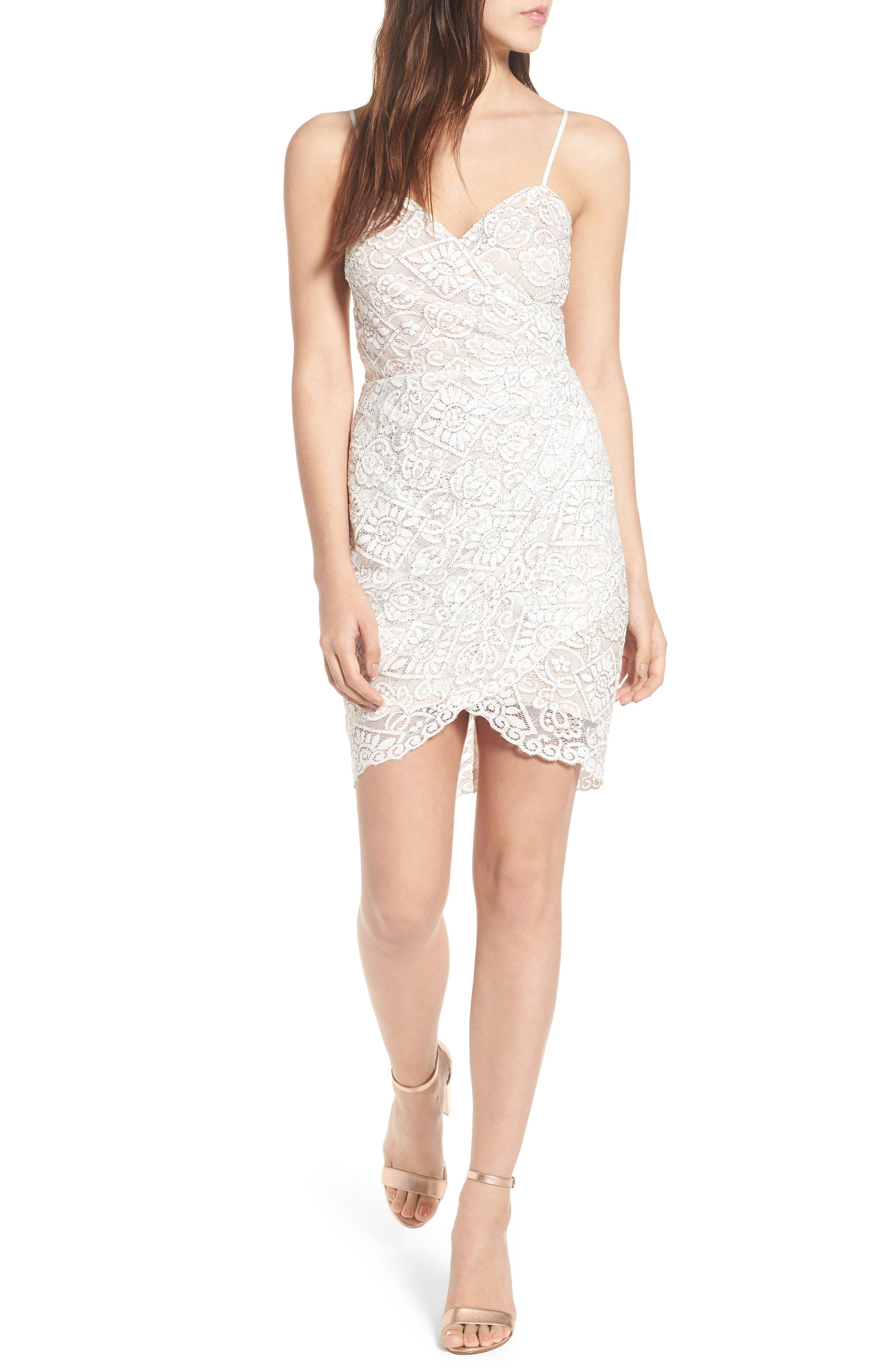 Lace Minidress,                         Main,                         color, Ivory