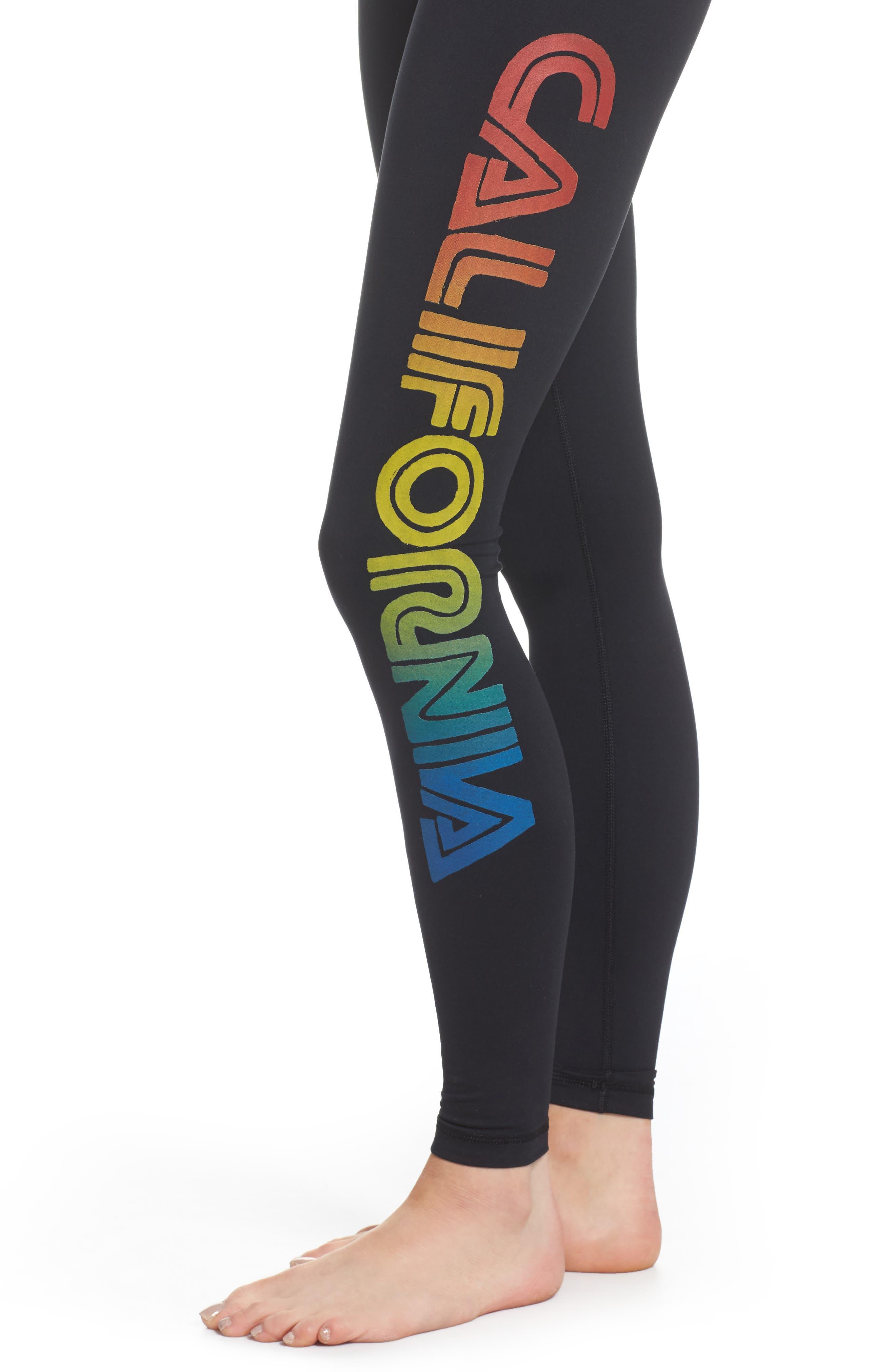 California Leggings,                             Alternate thumbnail 4, color,                             Black/ Rainbow