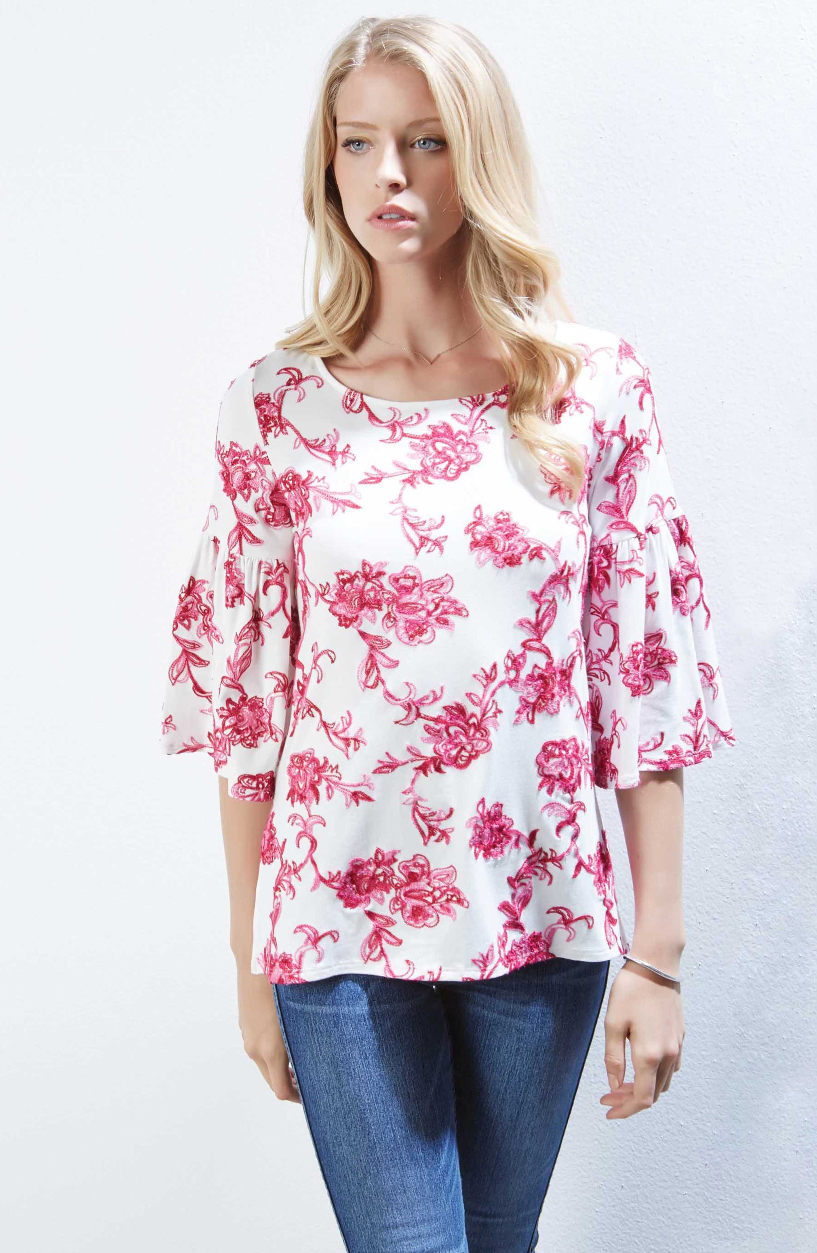 Embroidered Knit Top,                             Alternate thumbnail 2, color,                             Pink