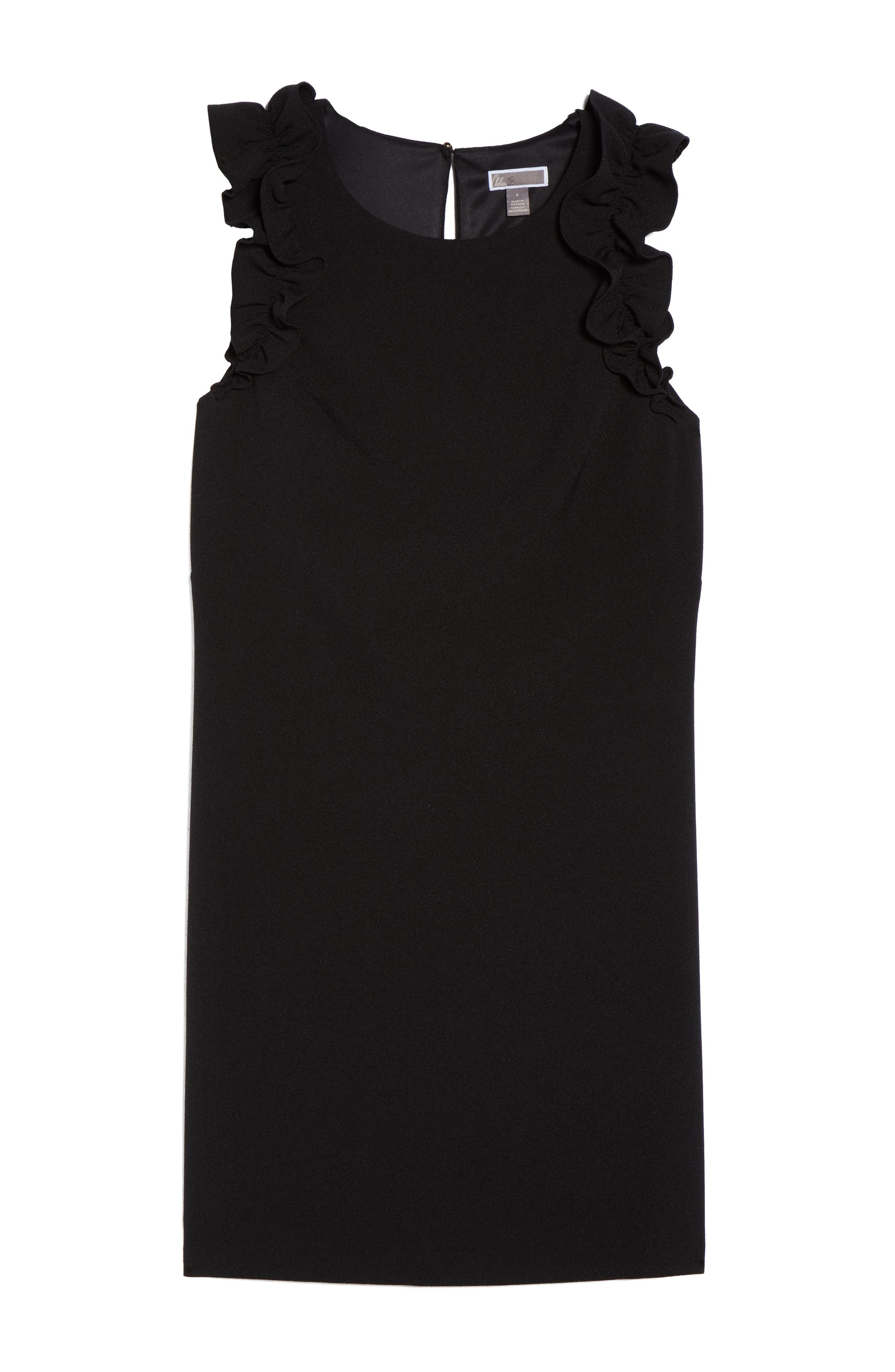 Ruffle Shoulder Crepe Shift Dress,                             Alternate thumbnail 6, color,                             Black