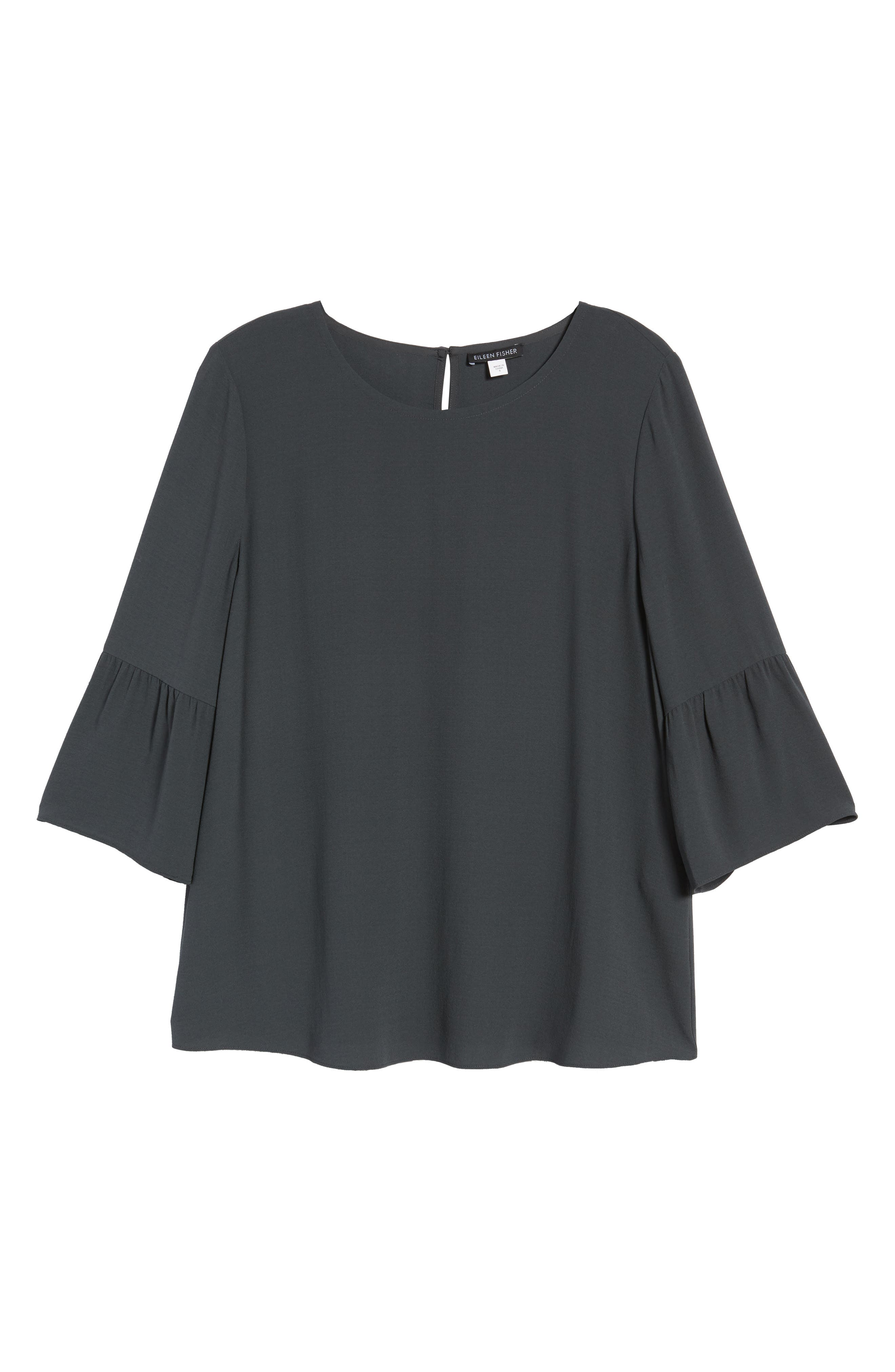 Ruffled Sleeve Silk Top,                             Alternate thumbnail 7, color,                             Graphite
