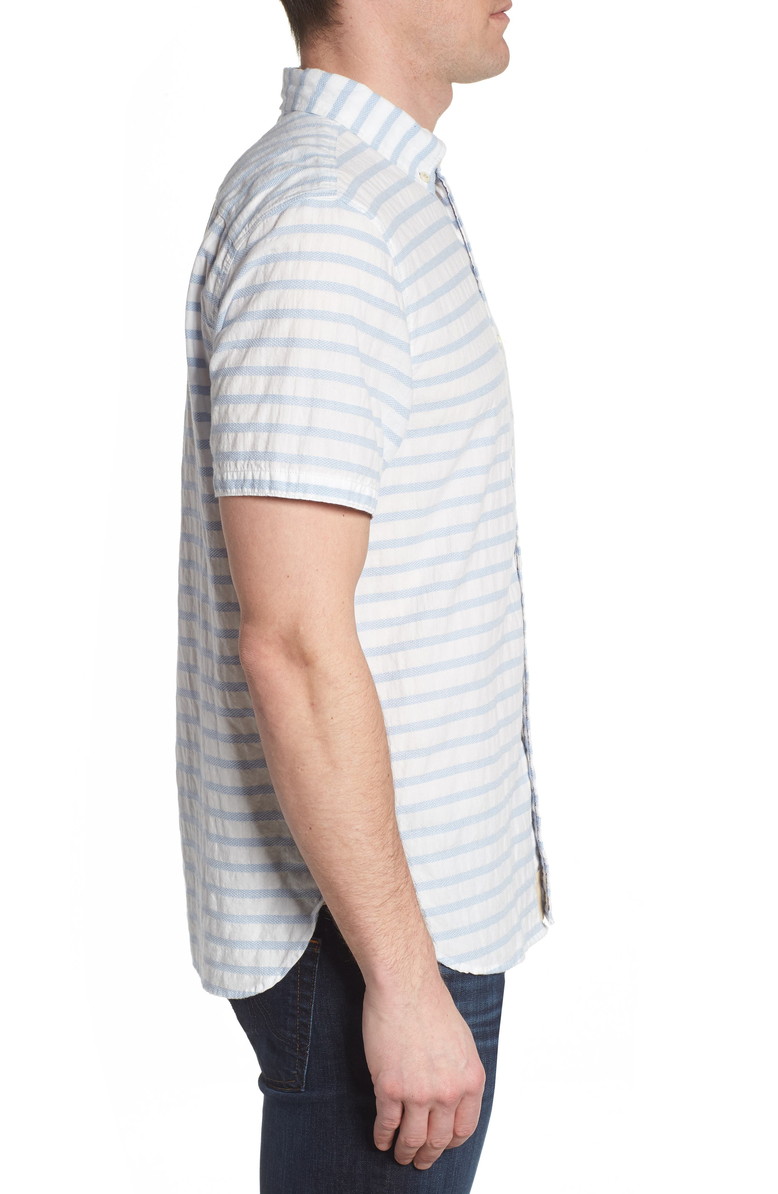 Truman Slim Fit Stripe Sport Shirt,                             Alternate thumbnail 4, color,                             White/ Blue