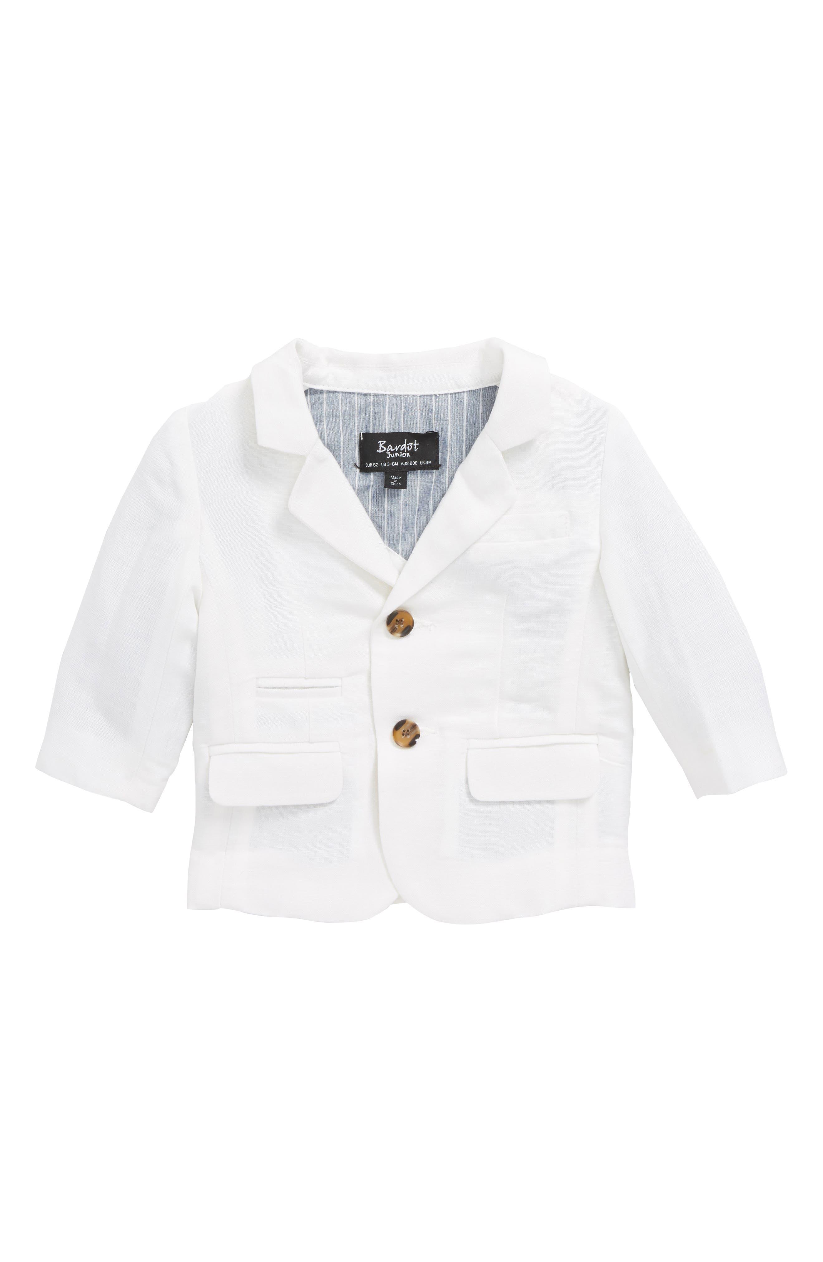 St. Tropez Linen Blend Blazer,                             Main thumbnail 1, color,                             White