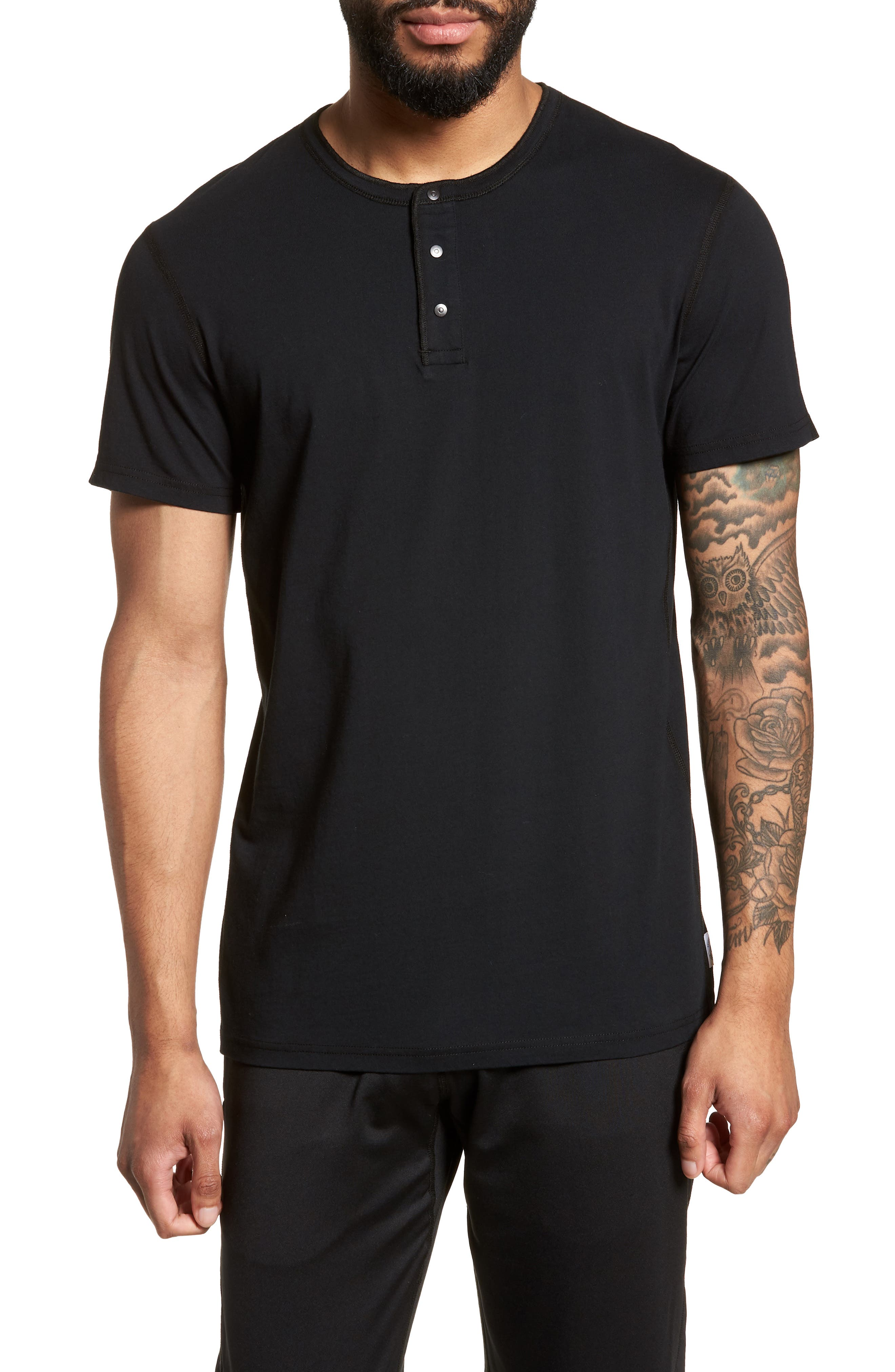 Jersey Henley,                             Main thumbnail 1, color,                             Black