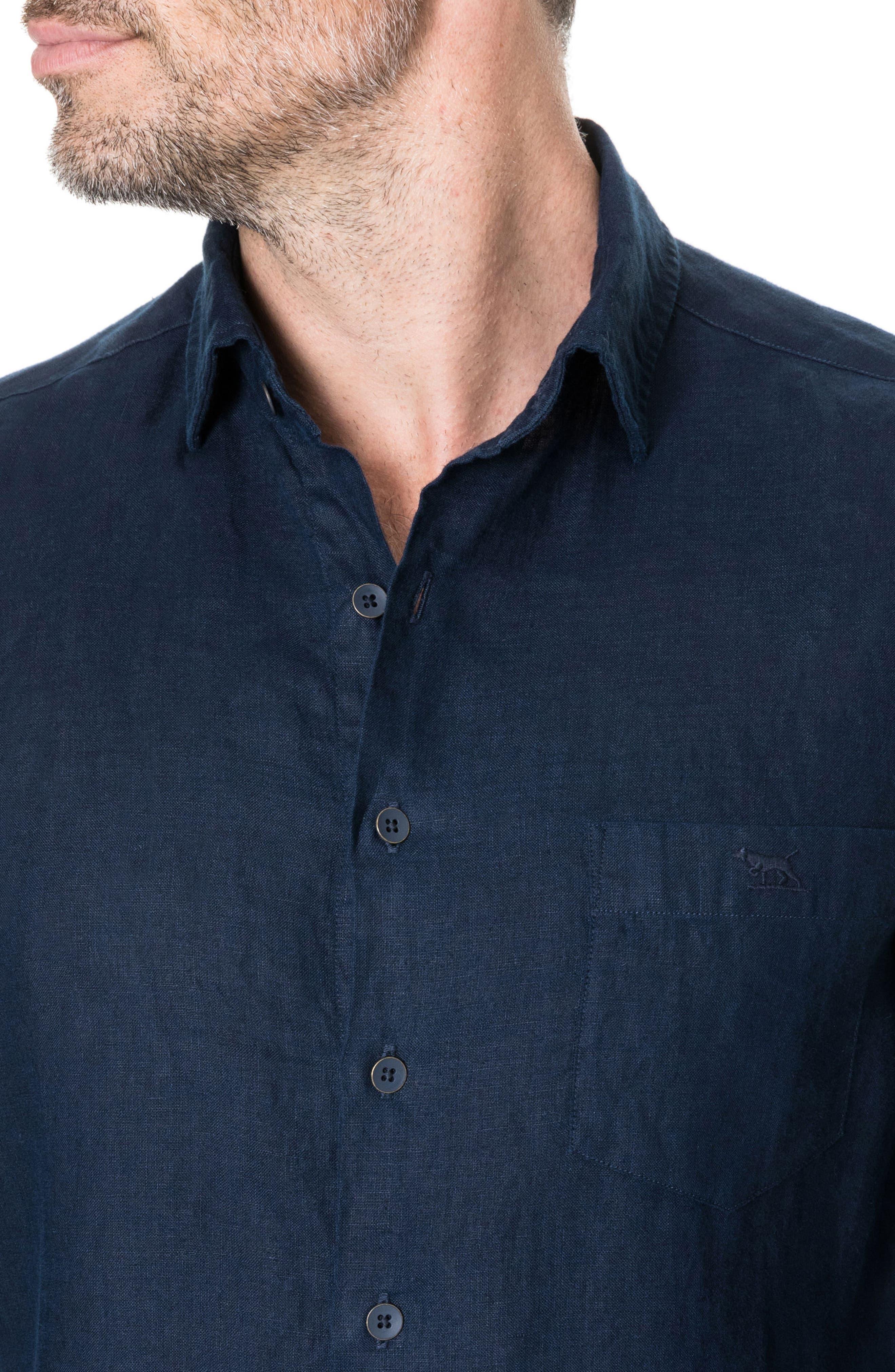 Denver Regular Fit Linen Sport Shirt,                             Alternate thumbnail 2, color,                             Indigo