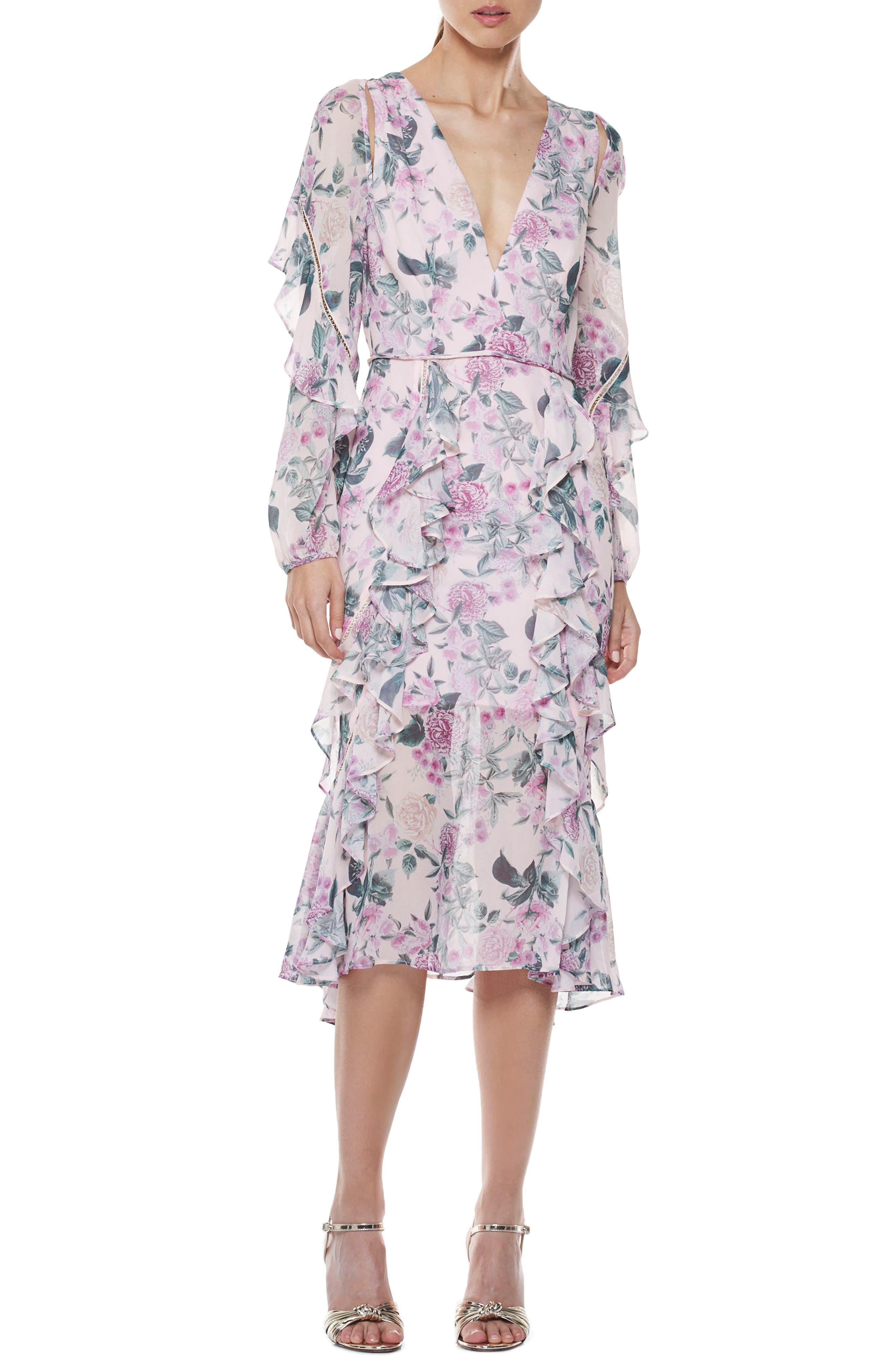 Floral Pleasure Midi Dress,                             Main thumbnail 1, color,                             Print