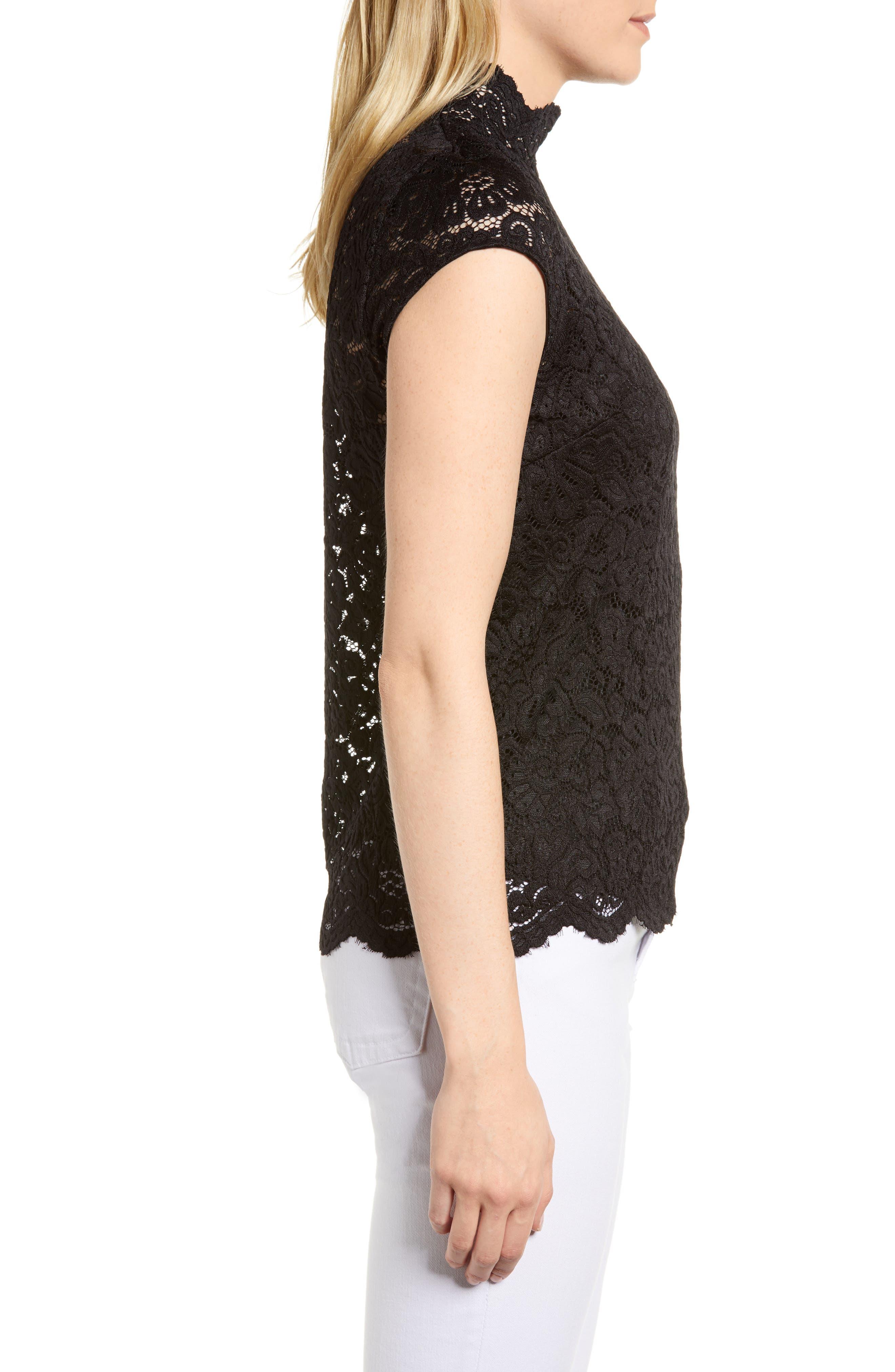 Filippa Lace Cap Sleeve Top,                             Alternate thumbnail 3, color,                             Black