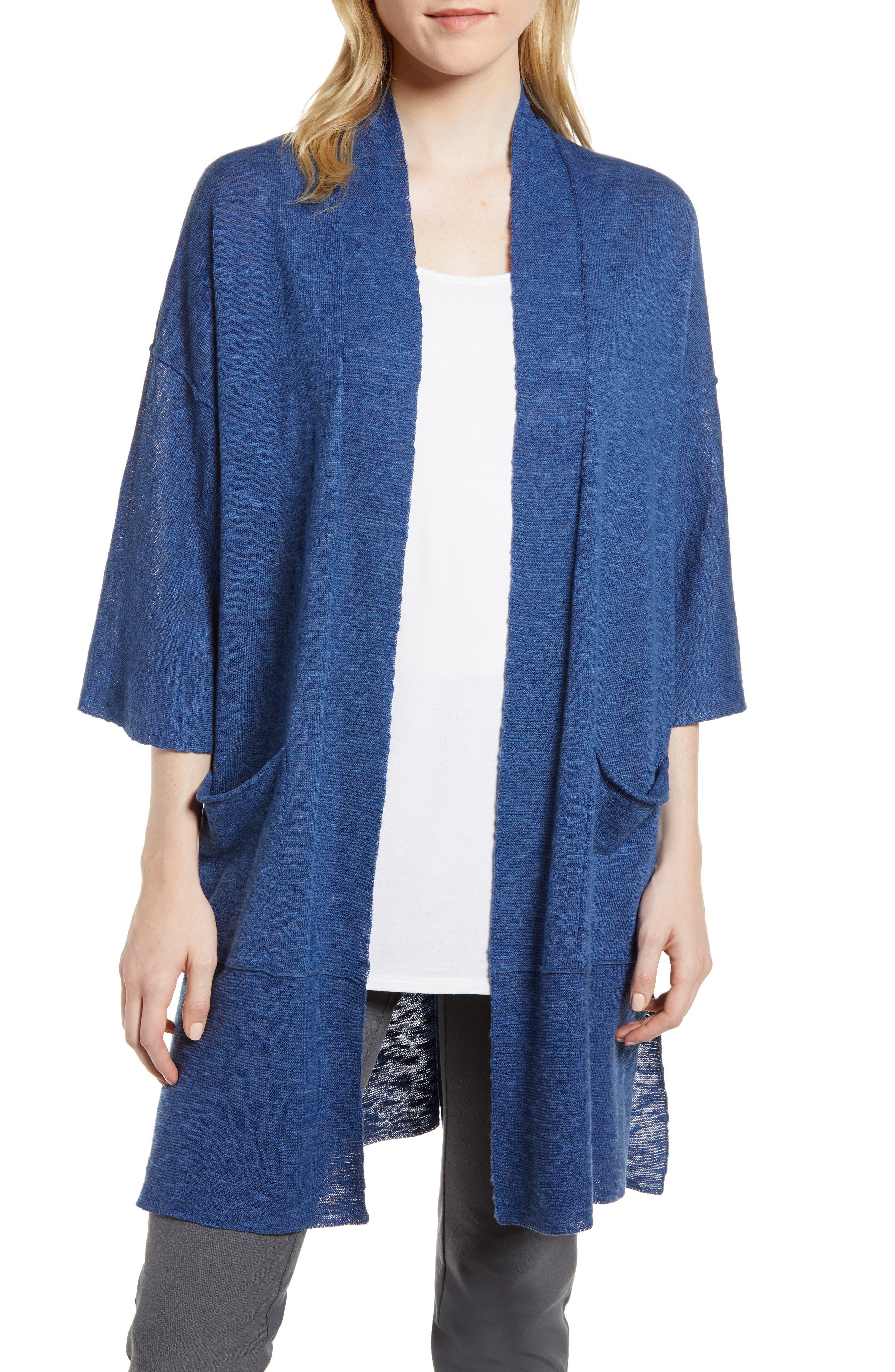 Organic Linen & Cotton Kimono Cardigan,                             Main thumbnail 1, color,                             Denim